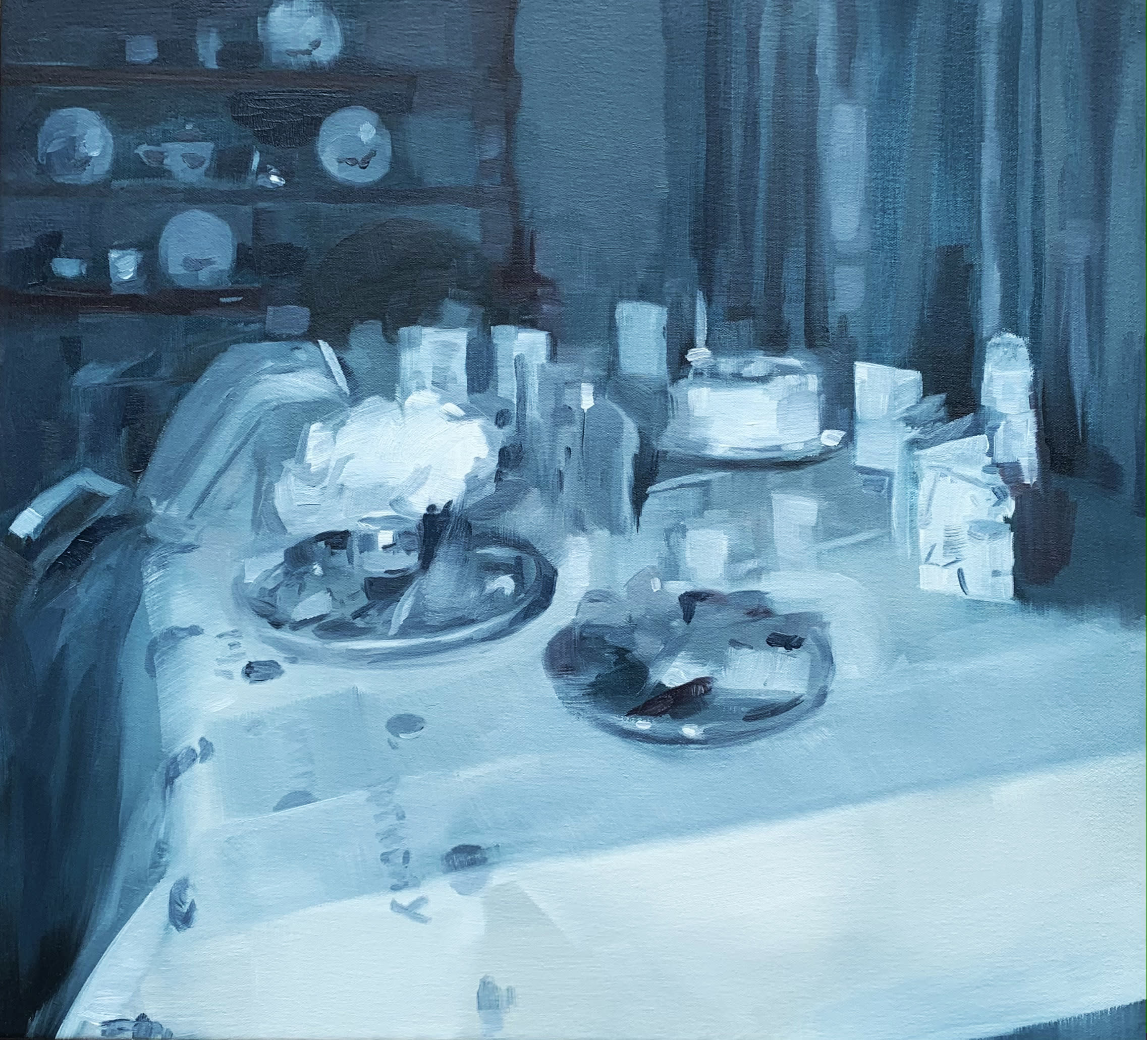 """<span class=""""link fancybox-details-link""""><a href=""""/artists/89-kirsten-tradowsky/works/1414-kirsten-tradowsky-indigo-tablescape/"""">View Detail Page</a></span><div class=""""artist""""><strong>Kirsten Tradowsky</strong></div> <div class=""""title""""><em>Indigo Tablescape</em></div> <div class=""""medium"""">Oil on canvas</div> <div class=""""dimensions"""">20 x 22 inches</div>"""
