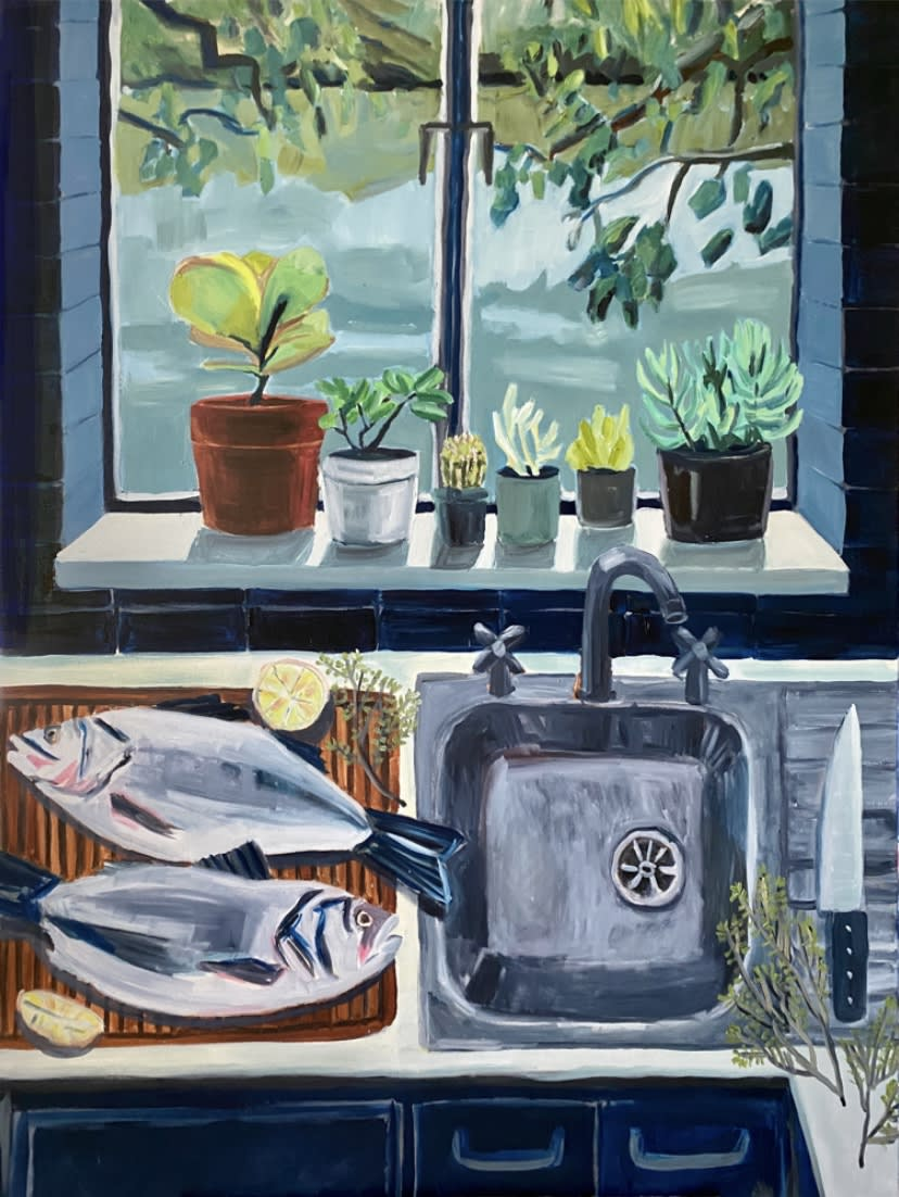 """<span class=""""link fancybox-details-link""""><a href=""""/artists/88-kate-nielsen/works/1251-kate-nielsen-preparing-the-fish/"""">View Detail Page</a></span><div class=""""artist""""><strong>Kate Nielsen</strong></div> <div class=""""title""""><em>Preparing the Fish</em></div> <div class=""""medium"""">Oil on canvas</div> <div class=""""dimensions"""">48 x 36 inches (unframed)</div>"""
