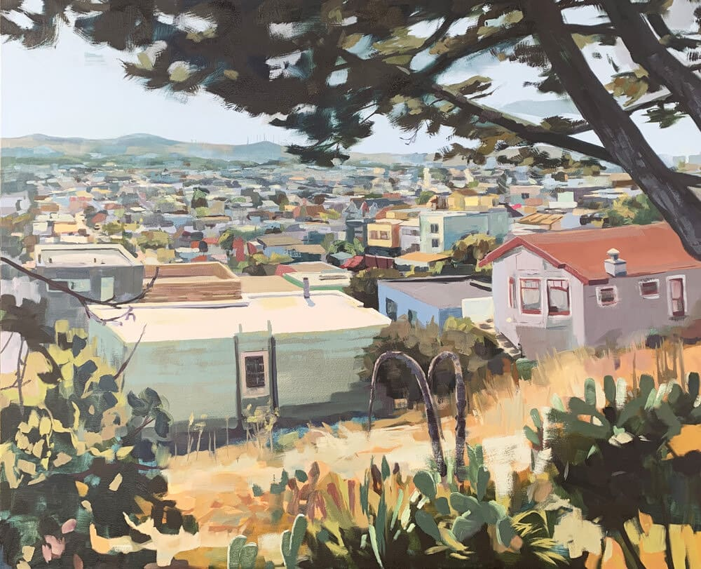 """<span class=""""link fancybox-details-link""""><a href=""""/artists/89-kirsten-tradowsky/works/1547-kirsten-tradowsky-south-of-bernal-hill/"""">View Detail Page</a></span><div class=""""artist""""><strong>Kirsten Tradowsky</strong></div> <div class=""""title""""><em>South of Bernal Hill</em></div> <div class=""""medium"""">Oil on canvas</div> <div class=""""dimensions"""">42 x 52 inches</div>"""
