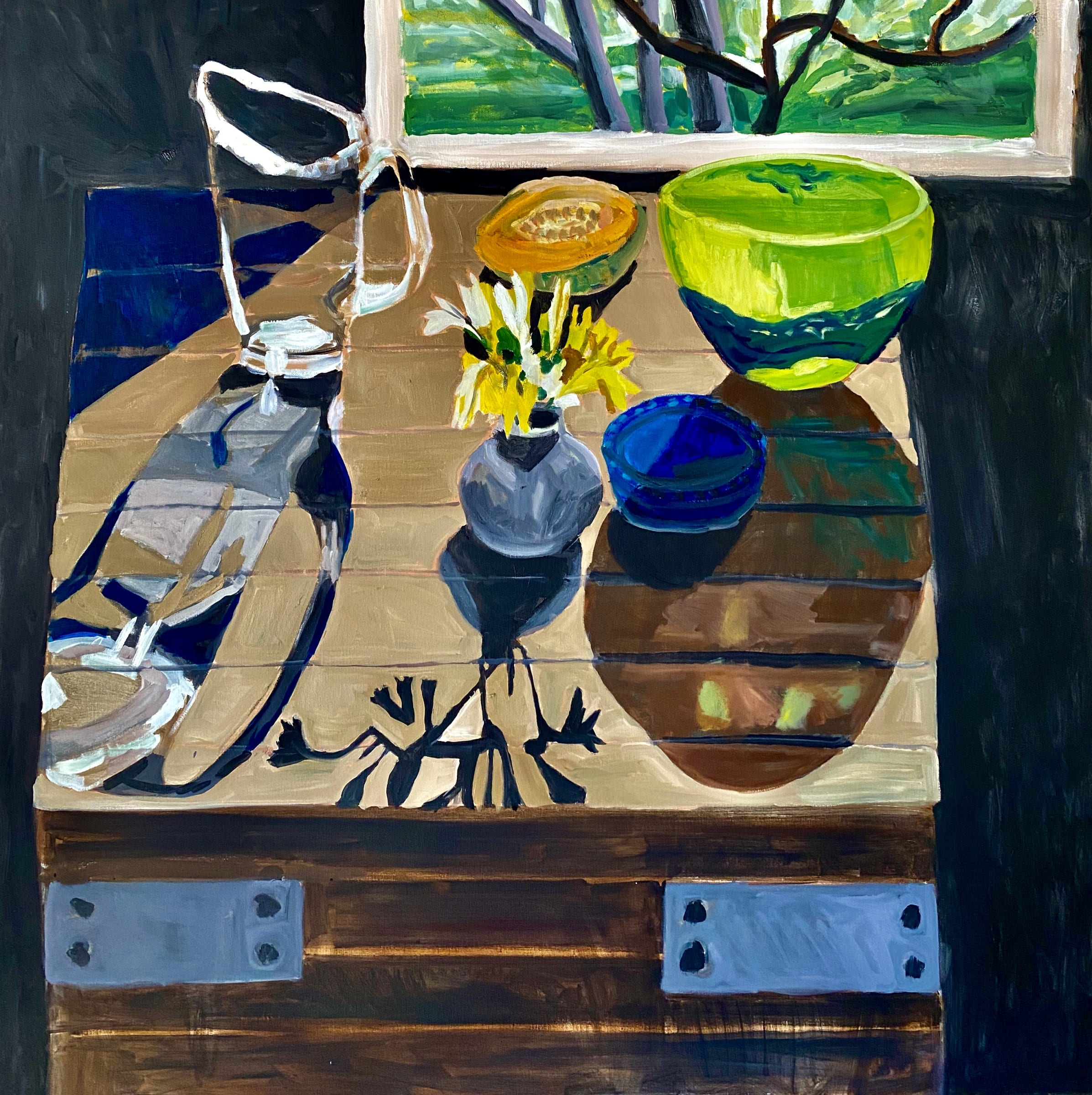 """<span class=""""link fancybox-details-link""""><a href=""""/artists/88-kate-nielsen/works/1248-kate-nielsen-still-life-with-green-bowl/"""">View Detail Page</a></span><div class=""""artist""""><strong>Kate Nielsen</strong></div> <div class=""""title""""><em>Still Life With Green Bowl</em></div> <div class=""""medium"""">Oil on canvas</div> <div class=""""dimensions"""">41 x 41 inches (framed in light Tasmanian oak)</div>"""
