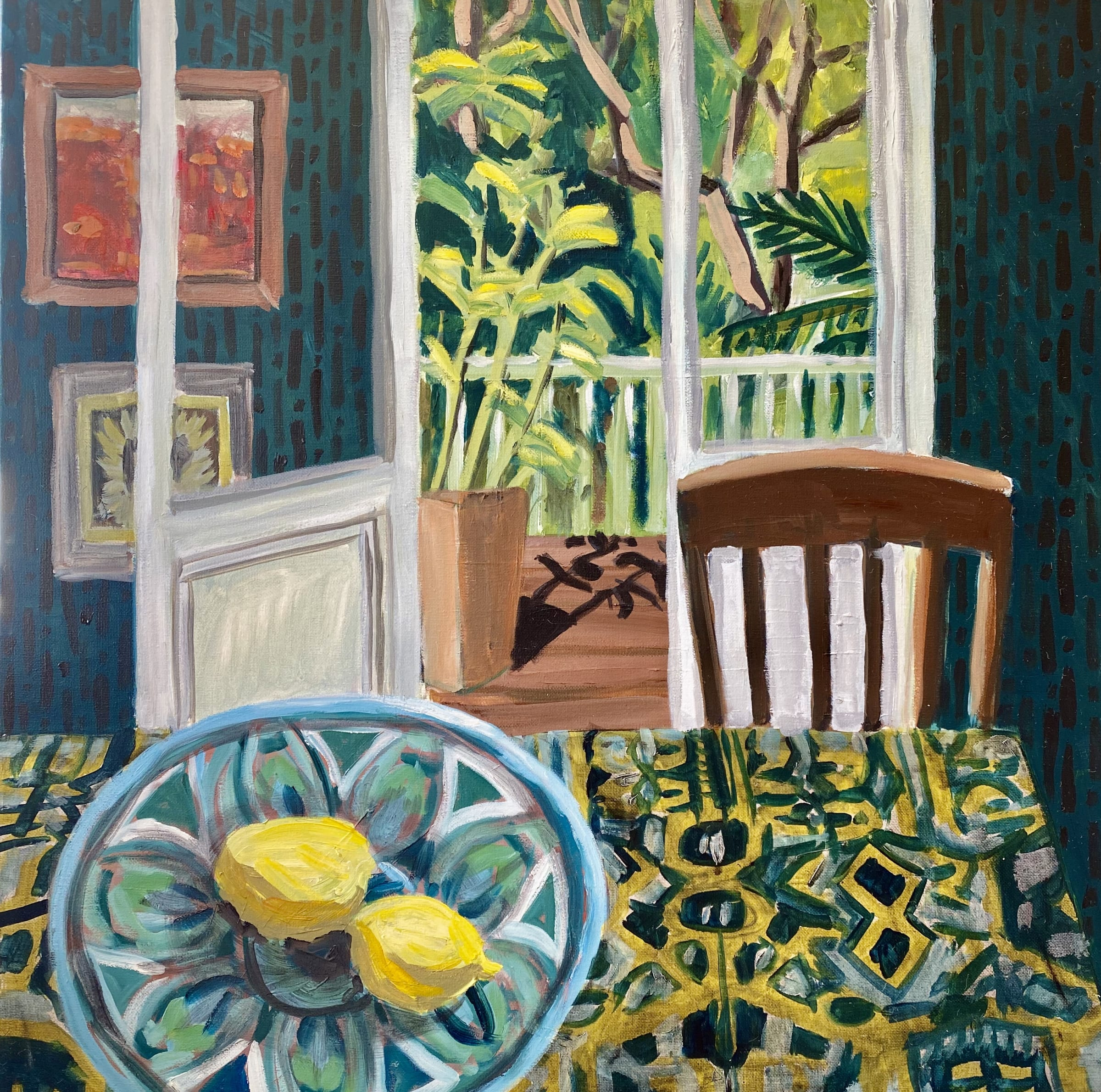 """<span class=""""link fancybox-details-link""""><a href=""""/artists/88-kate-nielsen/works/1253-kate-nielsen-turquoise-bowl-and-chair/"""">View Detail Page</a></span><div class=""""artist""""><strong>Kate Nielsen</strong></div> <div class=""""title""""><em>Turquoise Bowl and Chair</em></div> <div class=""""medium"""">Oil on canvas</div> <div class=""""dimensions"""">16 x 16 inches (framed in light Tasmanian oak)</div>"""