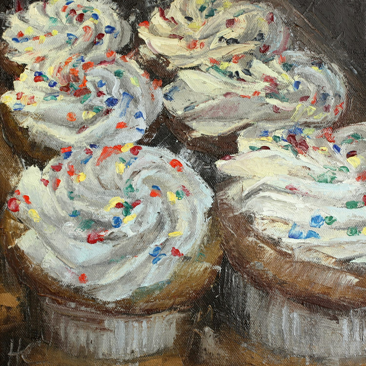 """<span class=""""link fancybox-details-link""""><a href=""""/artists/34-heather-capen/works/48-heather-capen-vanilla-cupcakes/"""">View Detail Page</a></span><div class=""""artist""""><strong>Heather Capen</strong></div> <div class=""""title""""><em>Vanilla Cupcakes</em></div> <div class=""""medium"""">Oil on Canvas </div> <div class=""""dimensions"""">10 x 10 inches </div>"""