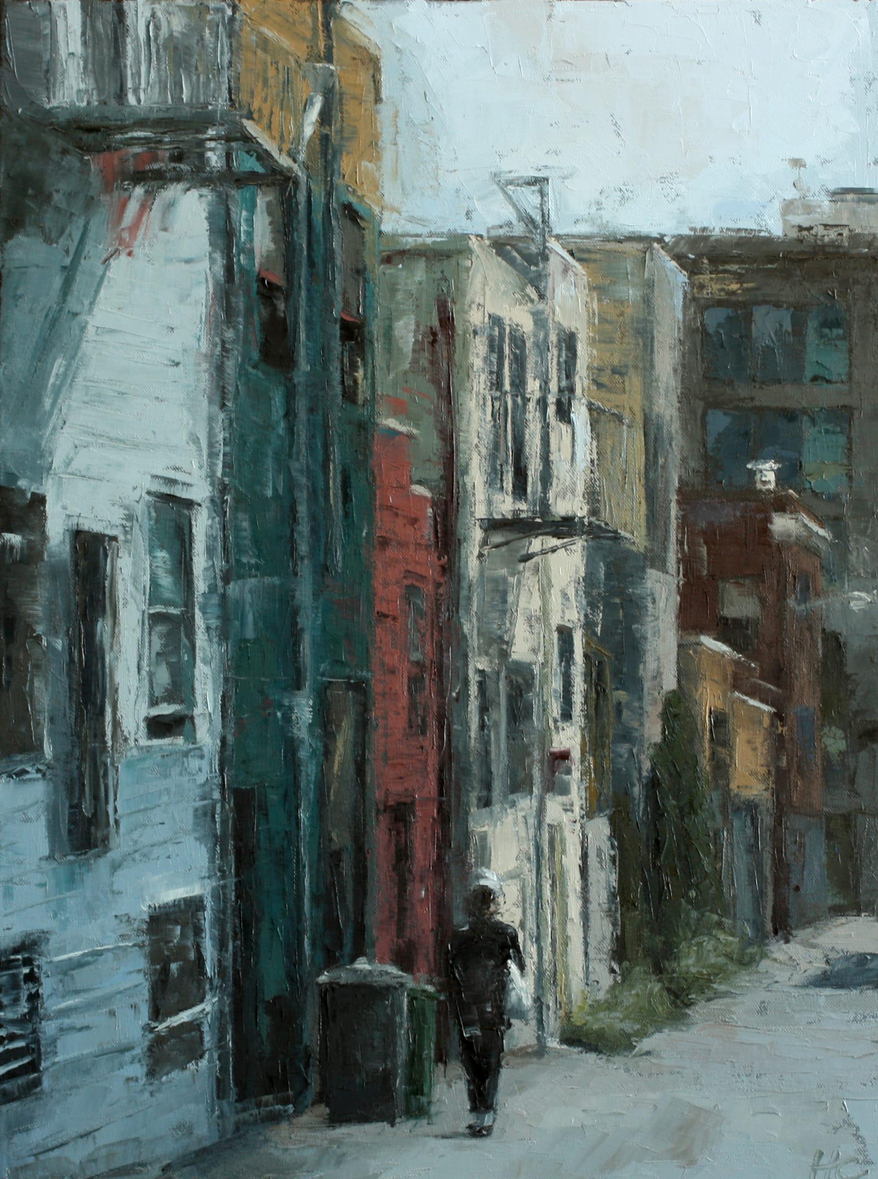 """<span class=""""link fancybox-details-link""""><a href=""""/artists/34-heather-capen/works/162-heather-capen-taber-alley/"""">View Detail Page</a></span><div class=""""artist""""><strong>Heather Capen</strong></div> <div class=""""title""""><em>Taber Alley</em></div> <div class=""""medium"""">Oil on Canvas</div> <div class=""""dimensions"""">24 x 18 inches</div>"""