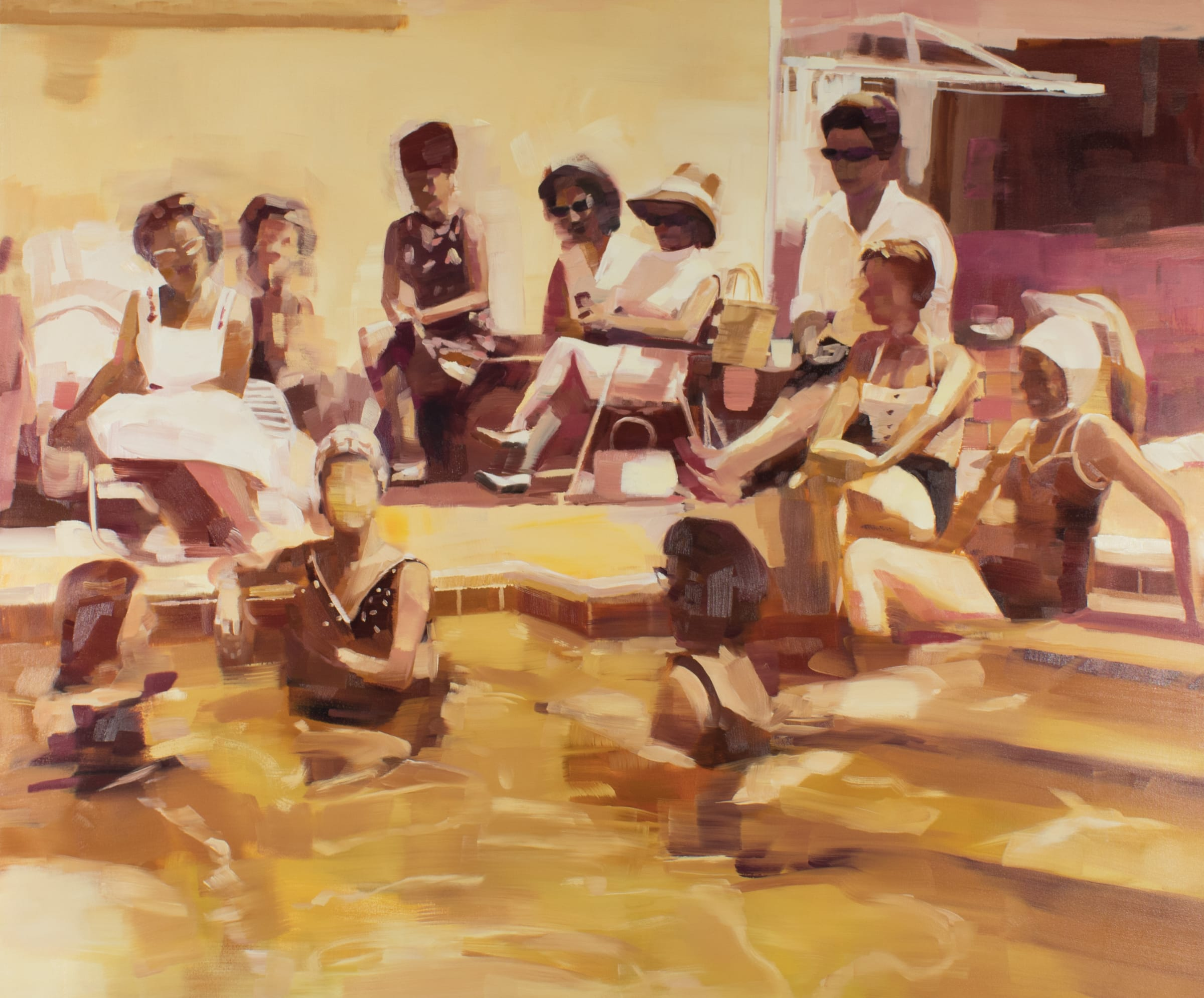 "<span class=""link fancybox-details-link""><a href=""/artists/89-kirsten-tradowsky/works/1237-kirsten-tradowsky-ladies-lounging-poolside-1960/"">View Detail Page</a></span><div class=""artist""><strong>Kirsten Tradowsky</strong></div> <div class=""title""><em>Ladies Lounging Poolside, 1960</em></div> <div class=""medium"">Oil on canvas</div> <div class=""dimensions"">50 x 60 inches</div>"