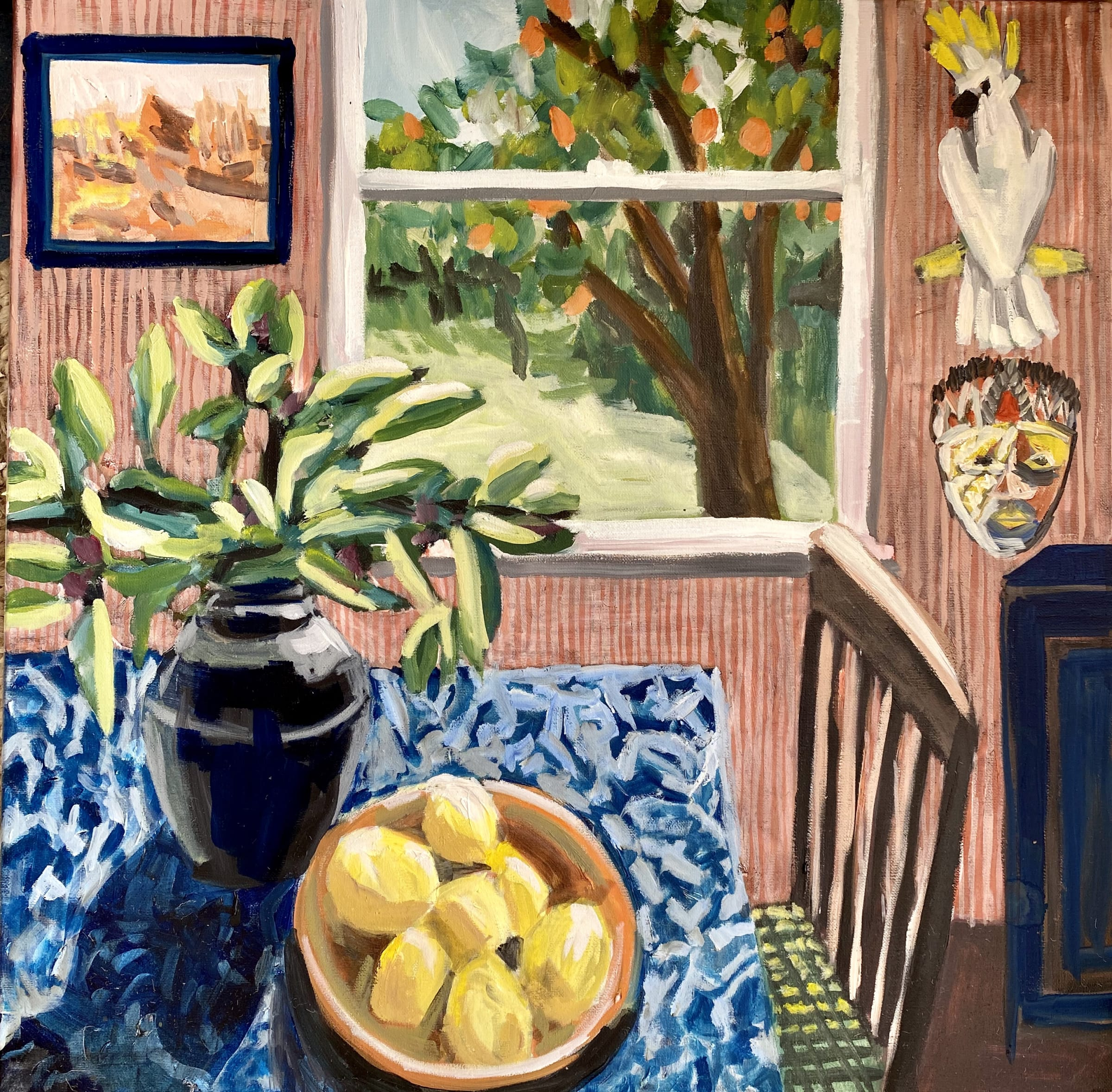 "<span class=""link fancybox-details-link""><a href=""/artists/88-kate-nielsen/works/1252-kate-nielsen-daphne-with-lemons-orange-tree/"">View Detail Page</a></span><div class=""artist""><strong>Kate Nielsen</strong></div> <div class=""title""><em>Daphne With Lemons & Orange Tree</em></div> <div class=""medium"">Oil on canvas</div> <div class=""dimensions"">16 x 16 inches (framed in light Tasmanian oak)</div>"