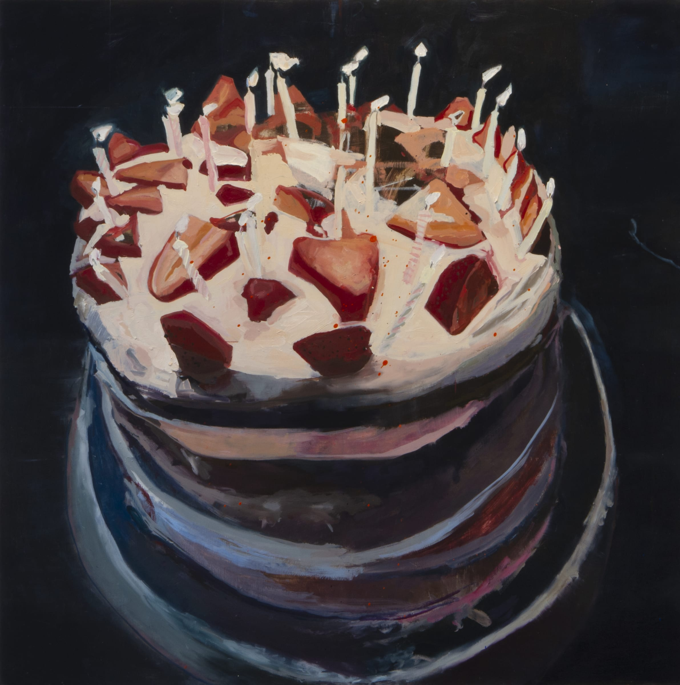 """<span class=""""link fancybox-details-link""""><a href=""""/artists/56-hadas-tal/works/1175-hadas-tal-strawberry-cake/"""">View Detail Page</a></span><div class=""""artist""""><strong>Hadas Tal</strong></div> <div class=""""title""""><em>Strawberry Cake</em></div> <div class=""""medium"""">Oil on wood panel</div> <div class=""""dimensions"""">42 x 42 inches</div>"""