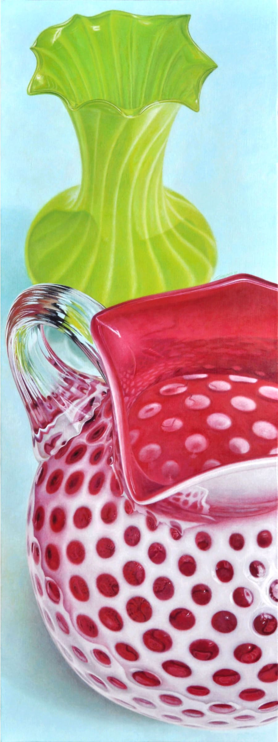 """<span class=""""link fancybox-details-link""""><a href=""""/artists/76-greg-haynes/works/1203-greg-haynes-pitcher-and-vase/"""">View Detail Page</a></span><div class=""""artist""""><strong>Greg Haynes</strong></div> <div class=""""title""""><em>Pitcher and Vase</em></div> <div class=""""medium"""">Oil on canvas</div> <div class=""""dimensions"""">64 x 24 inches</div>"""