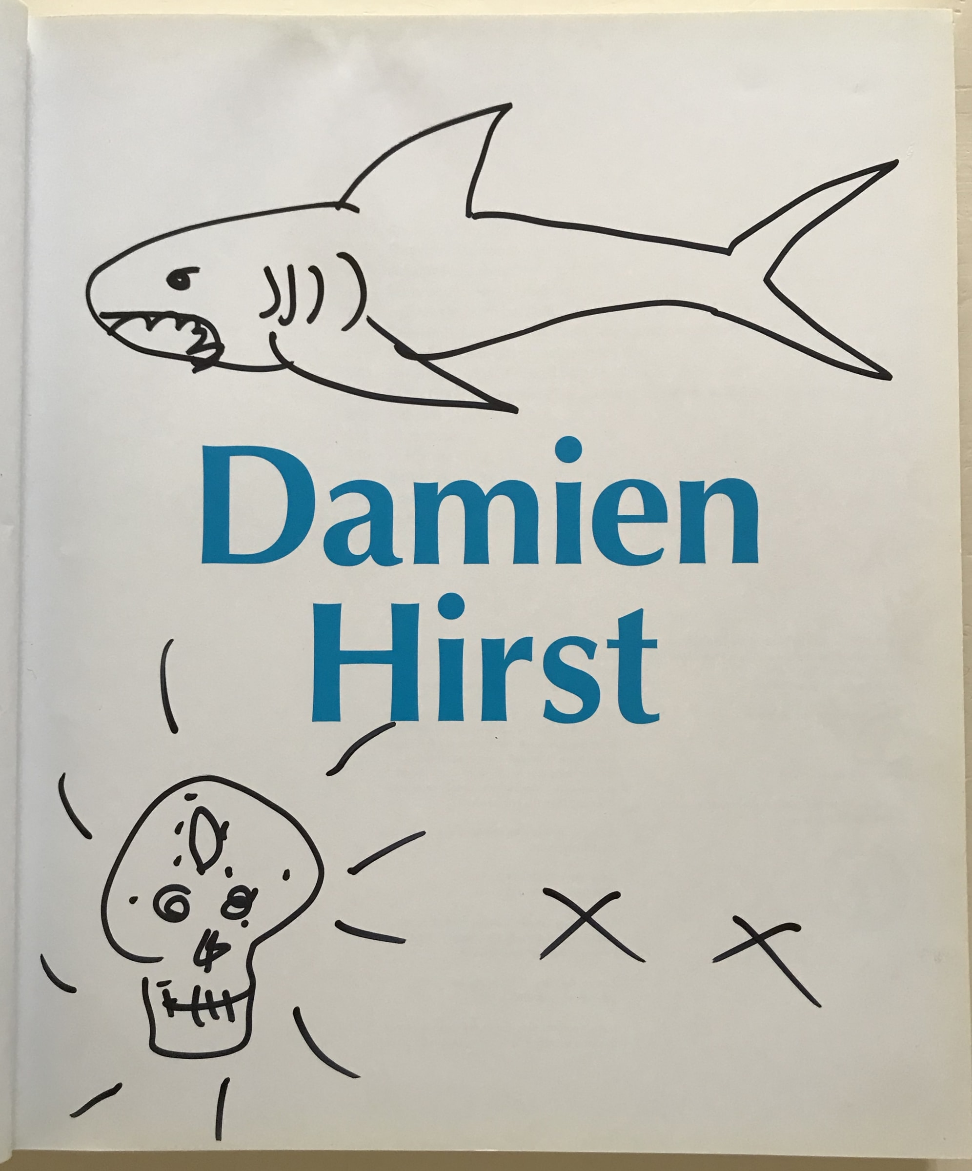Damien Hirst Shark Butterfly Skull And Heart Drawing In Tate Catalogue 2012 Multiplesinc