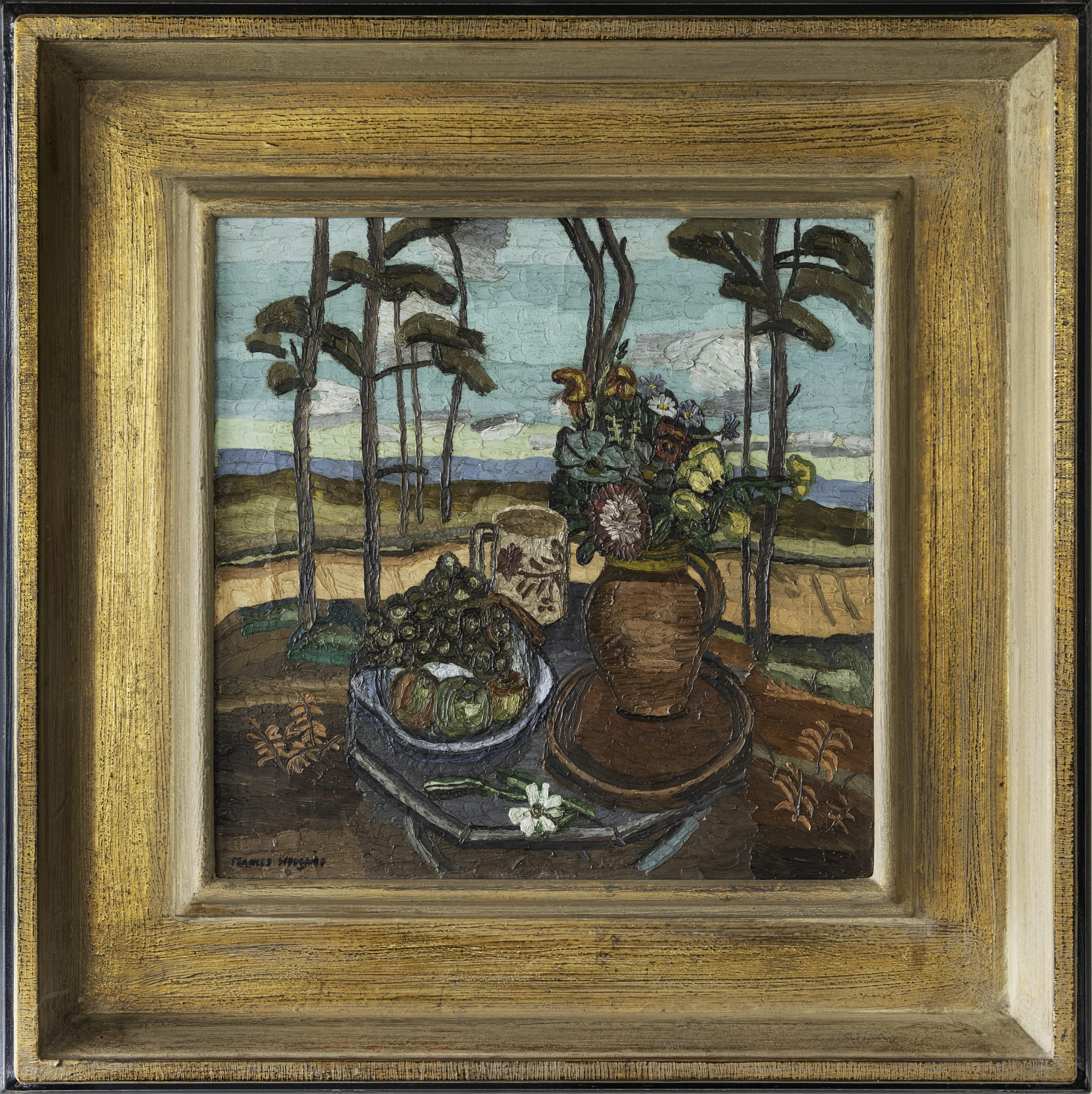 """<span class=""""link fancybox-details-link""""><a href=""""/artists/115-frances-mary-hodgkins/works/8397-frances-mary-hodgkins-untitled-still-life-with-flowers-in-a-landscape-c1929/"""">View Detail Page</a></span><div class=""""artist""""><strong>Frances Mary Hodgkins</strong></div> <div class=""""title""""><em>Untitled [Still Life with Flowers in a Landscape] </em>, c1929</div> <div class=""""signed_and_dated"""">Signed lower left Frances Hodgkins</div> <div class=""""medium"""">Oil on canvas</div> <div class=""""dimensions"""">545mm x 545mm</div>"""