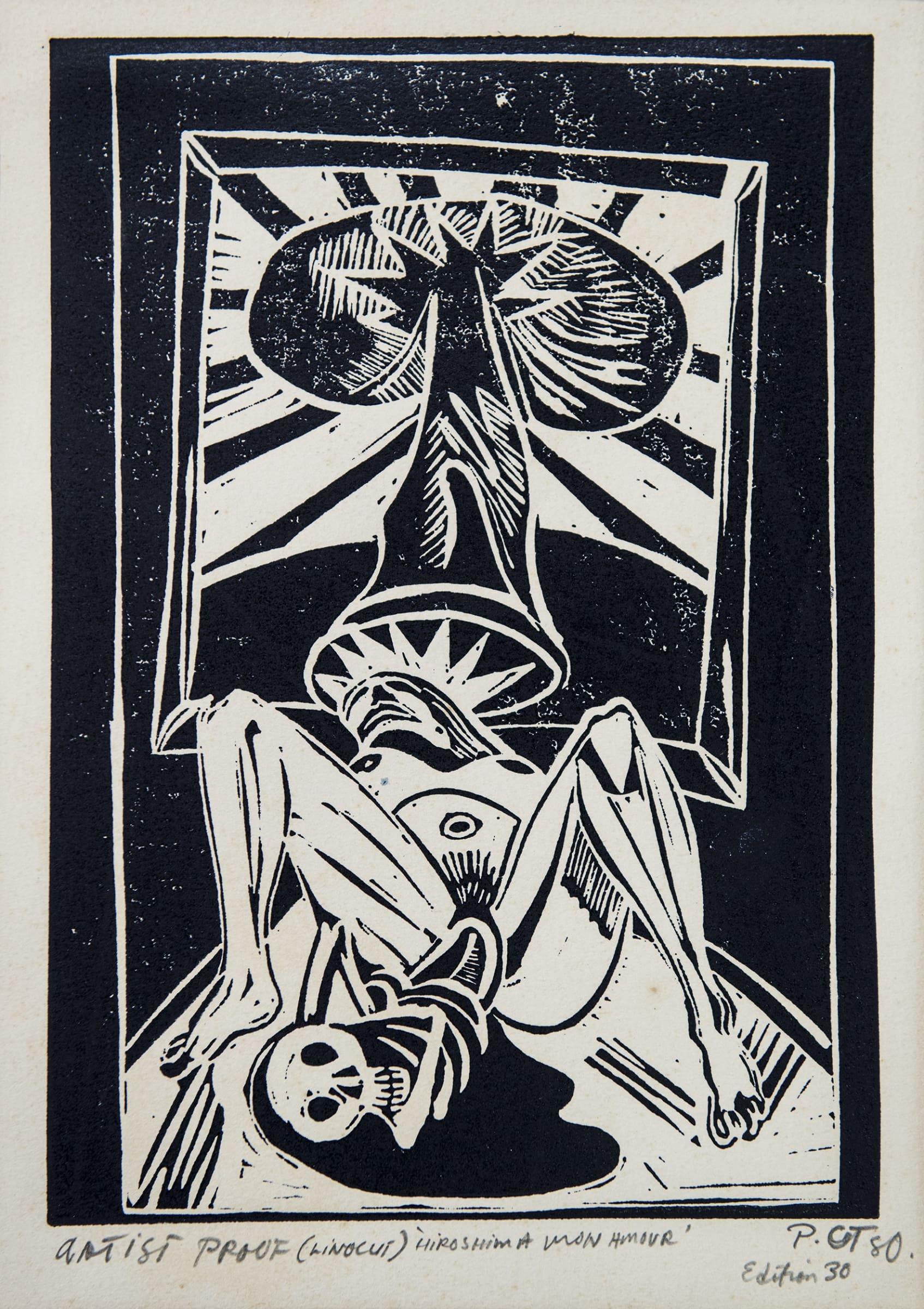 <span class=&#34;link fancybox-details-link&#34;><a href=&#34;/artists/74-philip-clairmont/works/6882-philip-clairmont-hiroshima-a-p-1980/&#34;>View Detail Page</a></span><div class=&#34;artist&#34;><strong>Philip CLAIRMONT</strong></div> <div class=&#34;title&#34;><em>Hiroshima, A/P</em>, 1980</div> <div class=&#34;medium&#34;>Linocut print</div> <div class=&#34;dimensions&#34;>17.7 x 13.2 in<br />45 x 33.5 cm</div>