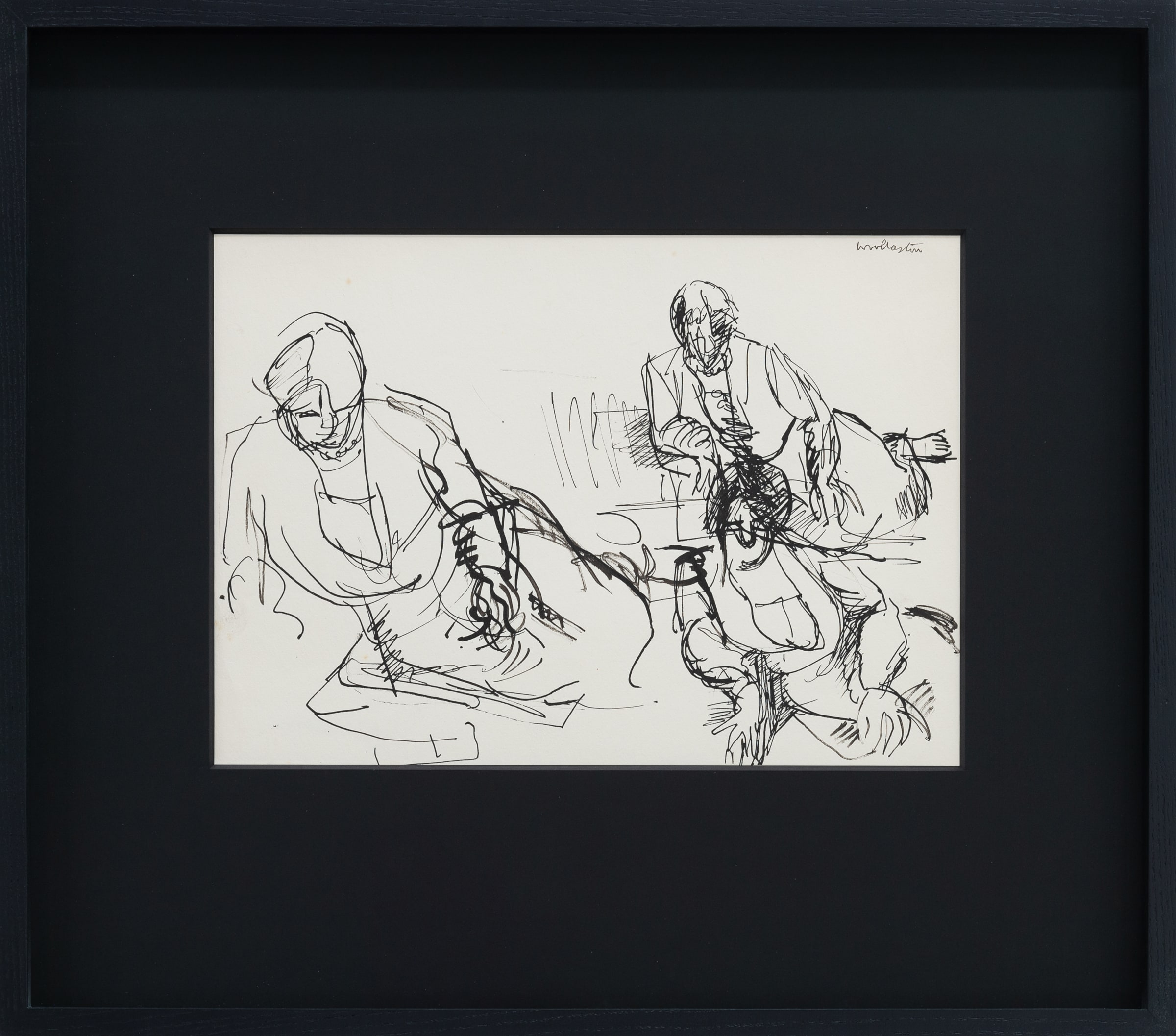 "<span class=""link fancybox-details-link""><a href=""/artists/62-mountford-tosswill-woollaston/works/7774-mountford-tosswill-woollaston-enfys-graham-three-seated-figures-on-floor-c1957/"">View Detail Page</a></span><div class=""artist""><strong>Mountford Tosswill Woollaston</strong></div> <div class=""title""><em>Enfys Graham (three seated figures on floor)</em>, c1957</div> <div class=""signed_and_dated"">signed upper right</div> <div class=""medium"">pen and ink on paper</div> <div class=""dimensions"">370mm x 270mm<br /> (unframed)<br /> 505mm x 572mm<br /> (framed)</div><div class=""copyright_line"">Copyright The Artist</div>"