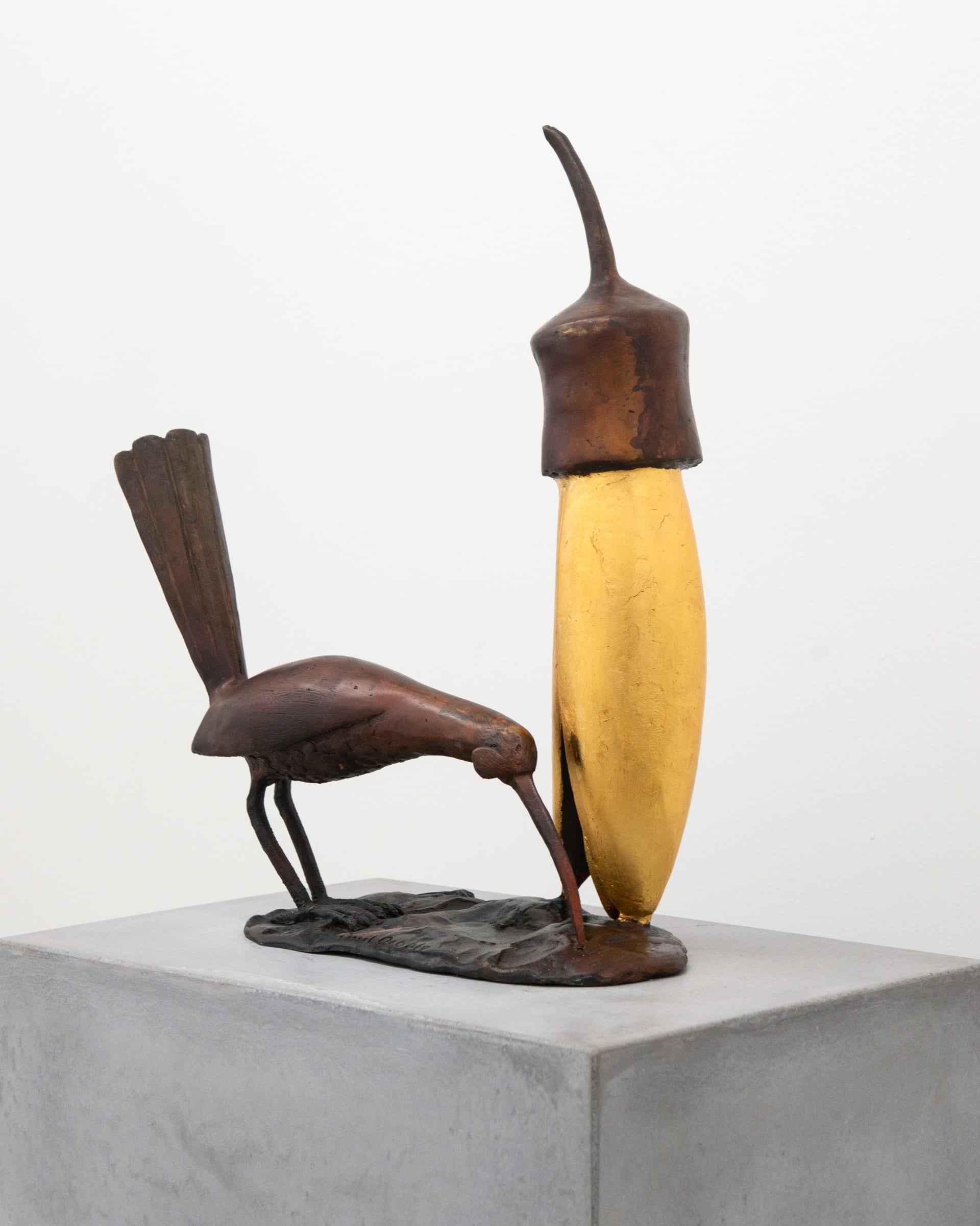 "<span class=""link fancybox-details-link""><a href=""/artists/50-paul-dibble/works/8492-paul-dibble-bird-and-kowhai-2020/"">View Detail Page</a></span><div class=""artist""><strong>Paul DIBBLE</strong></div> <div class=""title""><em>Bird and Kowhai</em>, 2020</div> <div class=""signed_and_dated"">signed on base</div> <div class=""medium"">Cast bronze and 24 carat gold</div> <div class=""dimensions"">500mm x 400mm x 150mm </div> <div class=""edition_details"">Edition of 10</div><div class=""copyright_line"">Copyright The Artist</div>"
