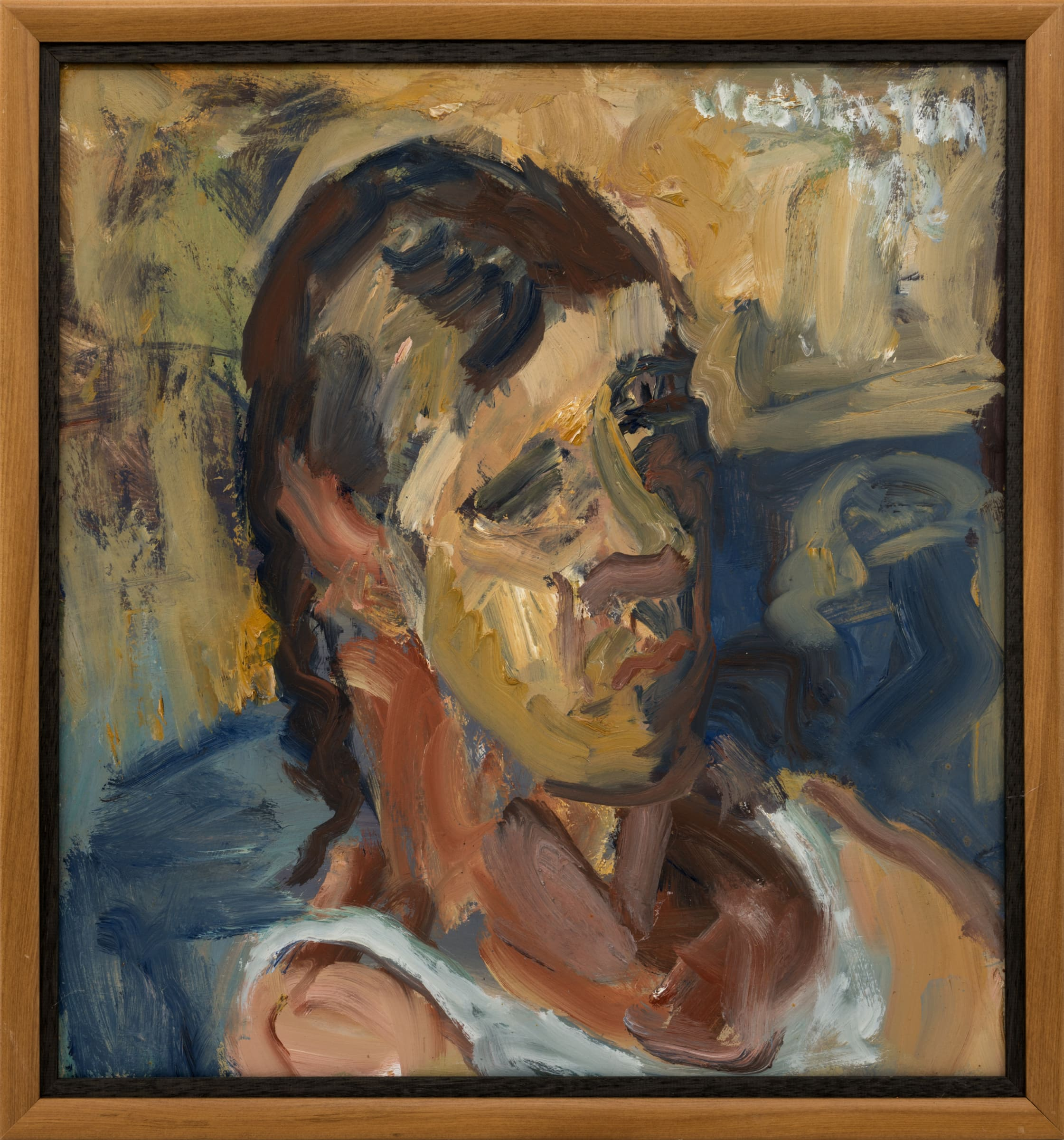 "<span class=""link fancybox-details-link""><a href=""/artists/62-mountford-tosswill-woollaston/works/6902-mountford-tosswill-woollaston-untitled-portrait-of-stephen-lockett-1992/"">View Detail Page</a></span><div class=""artist""><strong>Mountford Tosswill Woollaston</strong></div> <div class=""title""><em>Untitled [Portrait of Stephen Lockett]</em>, 1992</div> <div class=""signed_and_dated"">Sighed & dated upper right</div> <div class=""medium"">Oil on board</div> <div class=""dimensions"">570mm x 535mm</div>"