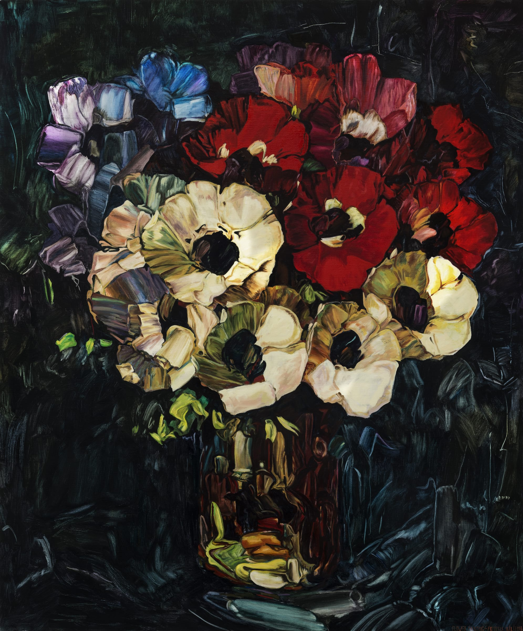 """<span class=""""link fancybox-details-link""""><a href=""""/artists/45-dick-frizzell/works/7192-dick-frizzell-flower-painting-2016/"""">View Detail Page</a></span><div class=""""artist""""><strong>Dick FRIZZELL</strong></div> <div class=""""title""""><em>Flower Painting</em>, 2016</div> <div class=""""medium"""">Oil on canvas</div> <div class=""""dimensions"""">70.9 x 59.1 in<br />180 x 150 cm</div>"""