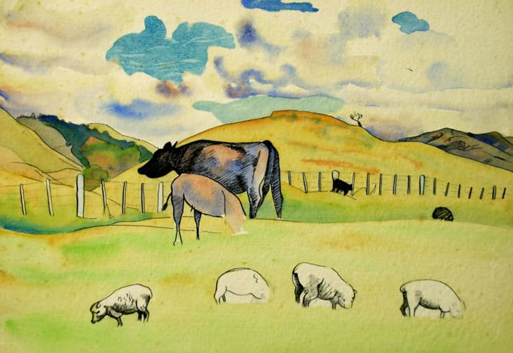 """<span class=""""link fancybox-details-link""""><a href=""""/artists/70-rita-angus/works/3269-rita-angus-study-of-cows-and-sheep-n.d./"""">View Detail Page</a></span><div class=""""artist""""><strong>Rita Angus</strong></div> <div class=""""title""""><em>Study of Cows and Sheep</em>, n.d.</div> <div class=""""medium"""">Watercolour on paper</div> <div class=""""dimensions"""">7.5 x 9.8 in<br />19 x 25 cm</div>"""
