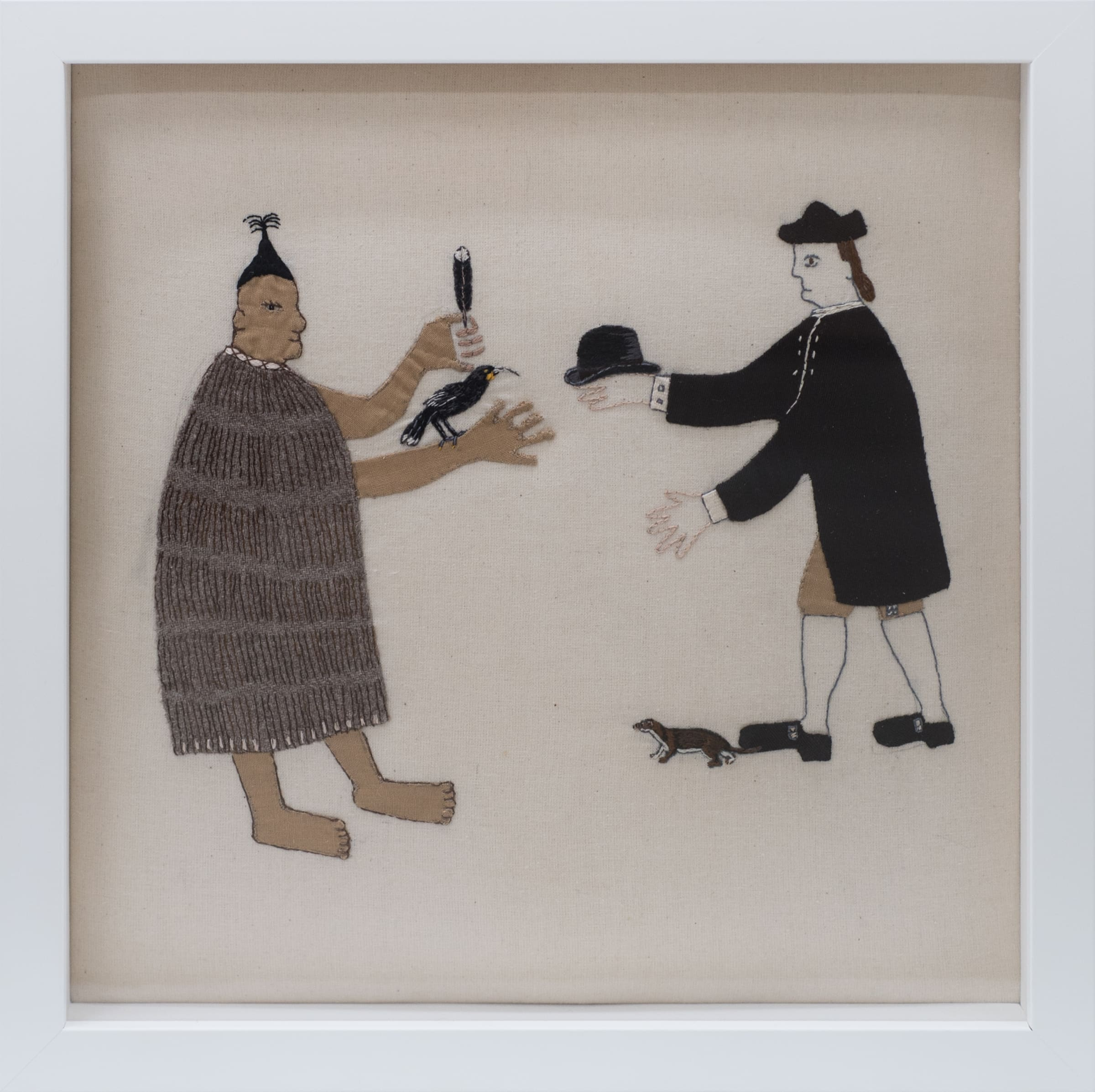 "<span class=""link fancybox-details-link""><a href=""/artists/48-sarah-munro/works/7270-sarah-munro-trade-items-bowler-hat-stoat-huia-2018/"">View Detail Page</a></span><div class=""artist""><strong>Sarah Munro</strong></div> <div class=""title""><em>Trade Items: Bowler Hat, Stoat, Huia</em>, 2018</div> <div class=""signed_and_dated"">Signed & Dated</div> <div class=""medium"">Unbleached calico, cloth, thread</div> <div class=""dimensions"">30 x 30 cm<br /> 11 3/4 x 11 3/4 in</div><div class=""copyright_line"">Copyright The Artist</div>"
