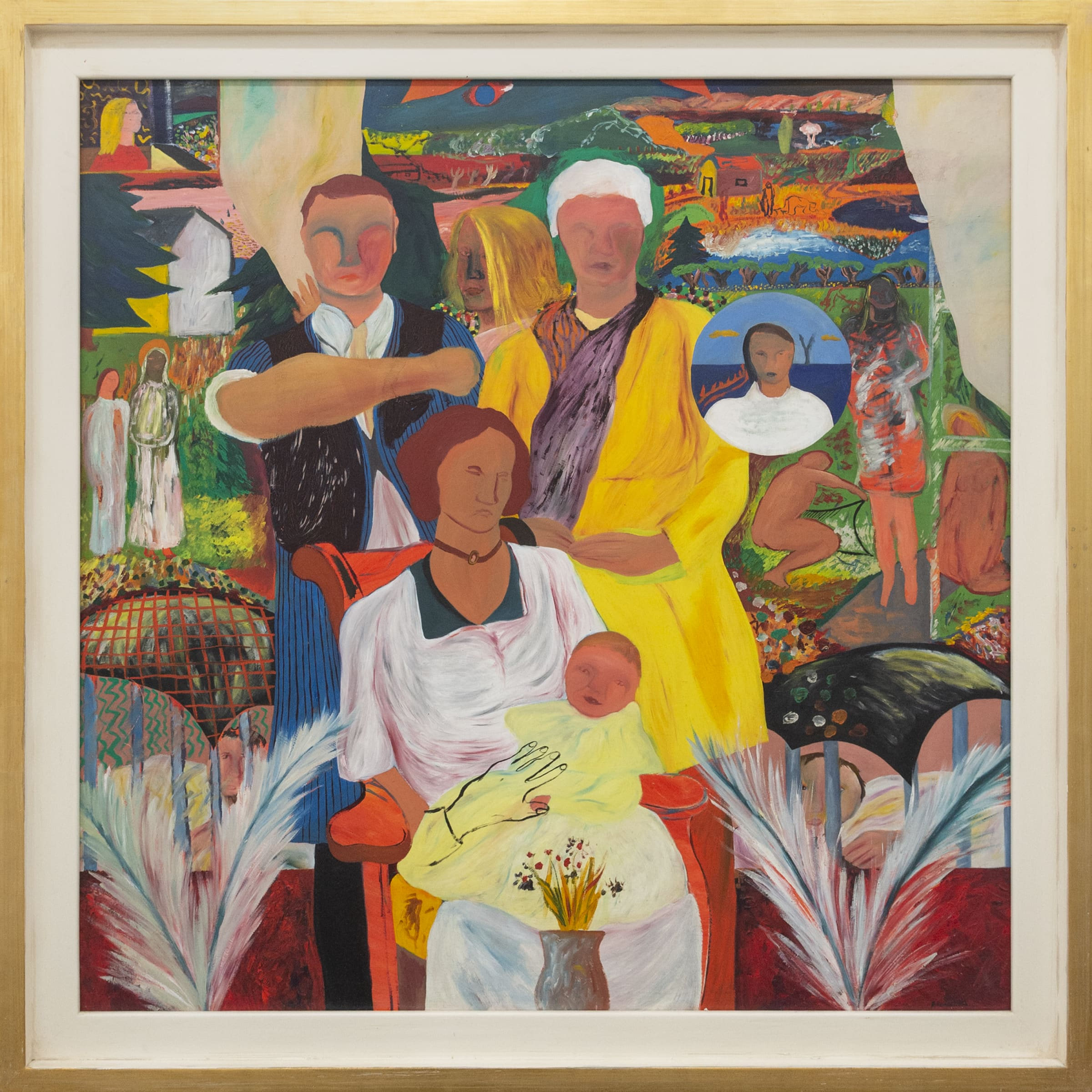 "<span class=""link fancybox-details-link""><a href=""/artists/76-jeffrey-harris/works/7690-jeffrey-harris-family-portrait-c.-1974/"">View Detail Page</a></span><div class=""artist""><strong>Jeffrey Harris</strong></div> <div class=""title""><em>Family Portrait</em>, c. 1974</div> <div class=""medium"">Oil on board</div> <div class=""dimensions"">139.5 x 139.5 cm<br /> 54 7/8 x 54 7/8 in</div><div class=""copyright_line"">Copyright The Artist</div>"