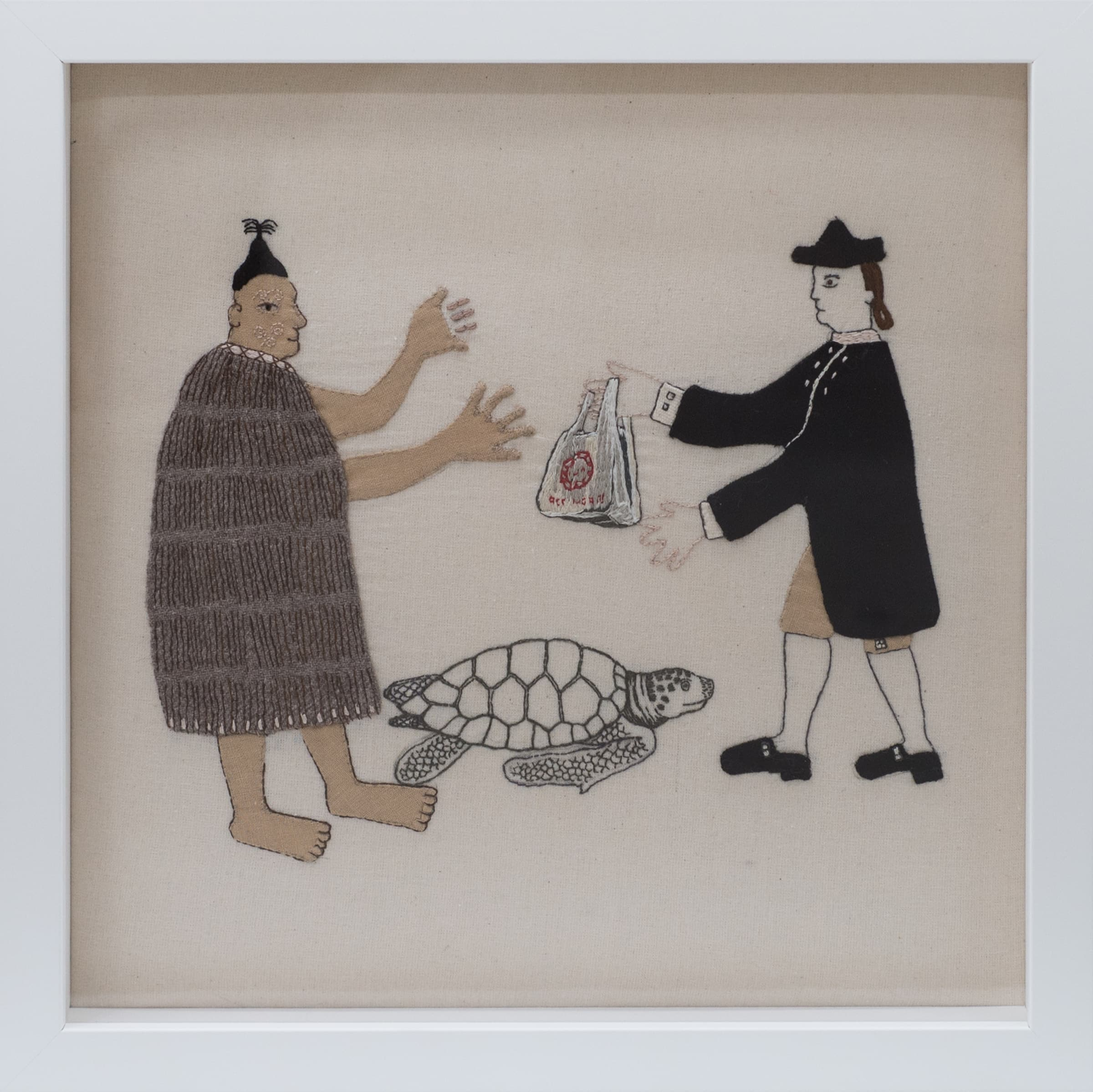 "<span class=""link fancybox-details-link""><a href=""/artists/48-sarah-munro/works/7274-sarah-munro-trade-items-one-use-plastic-bag-sea-turtle-2018/"">View Detail Page</a></span><div class=""artist""><strong>Sarah Munro</strong></div> <div class=""title""><em>Trade Items: One-use plastic bag, Sea Turtle</em>, 2018</div> <div class=""signed_and_dated"">Signed & Dated</div> <div class=""medium"">Unbleached calico, cloth, thread</div> <div class=""dimensions"">30 x 30 cm<br /> 11 3/4 x 11 3/4 in</div><div class=""copyright_line"">Copyright The Artist</div>"