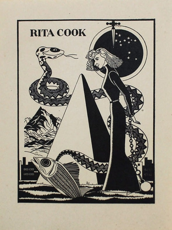 "<span class=""link fancybox-details-link""><a href=""/artists/70-rita-angus/works/6407-rita-angus-rita-cook-bookplate-1937-38/"">View Detail Page</a></span><div class=""artist""><strong>Rita Angus</strong></div> <div class=""title""><em>Rita Cook Bookplate</em>, 1937-38</div> <div class=""medium"">Linocut print</div> <div class=""dimensions"">5 x 3.5 in<br />12.6 x 9 cm</div> <div class=""edition_details"">#11/14</div>"