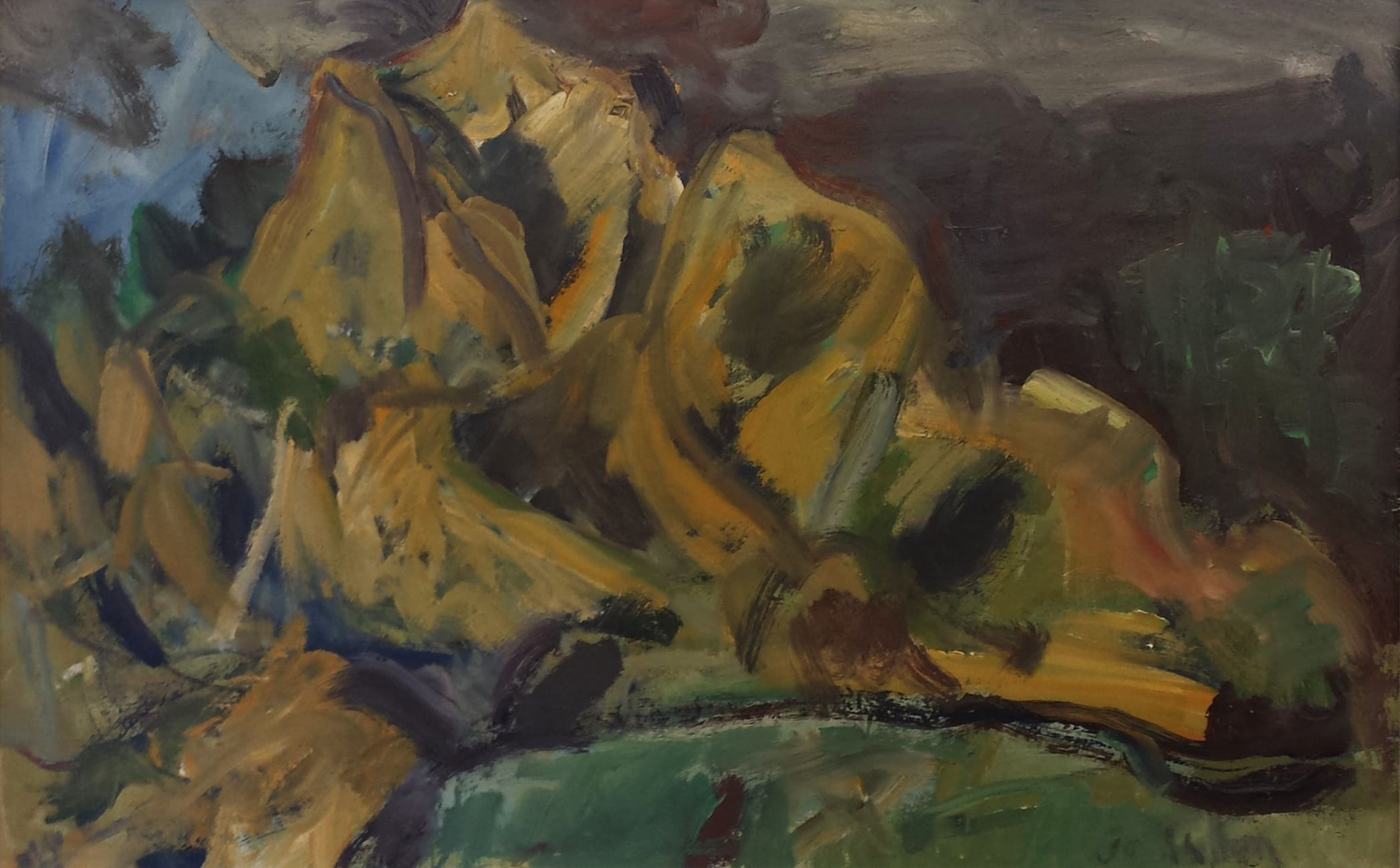 <span class=&#34;link fancybox-details-link&#34;><a href=&#34;/exhibitions/57/works/artworks5065/&#34;>View Detail Page</a></span><div class=&#34;signed_and_dated&#34;>Signed</div> <div class=&#34;medium&#34;>Oil on board</div> <div class=&#34;dimensions&#34;>22 x 35 x 28 in<br />56 x 89 x 71 cm</div>