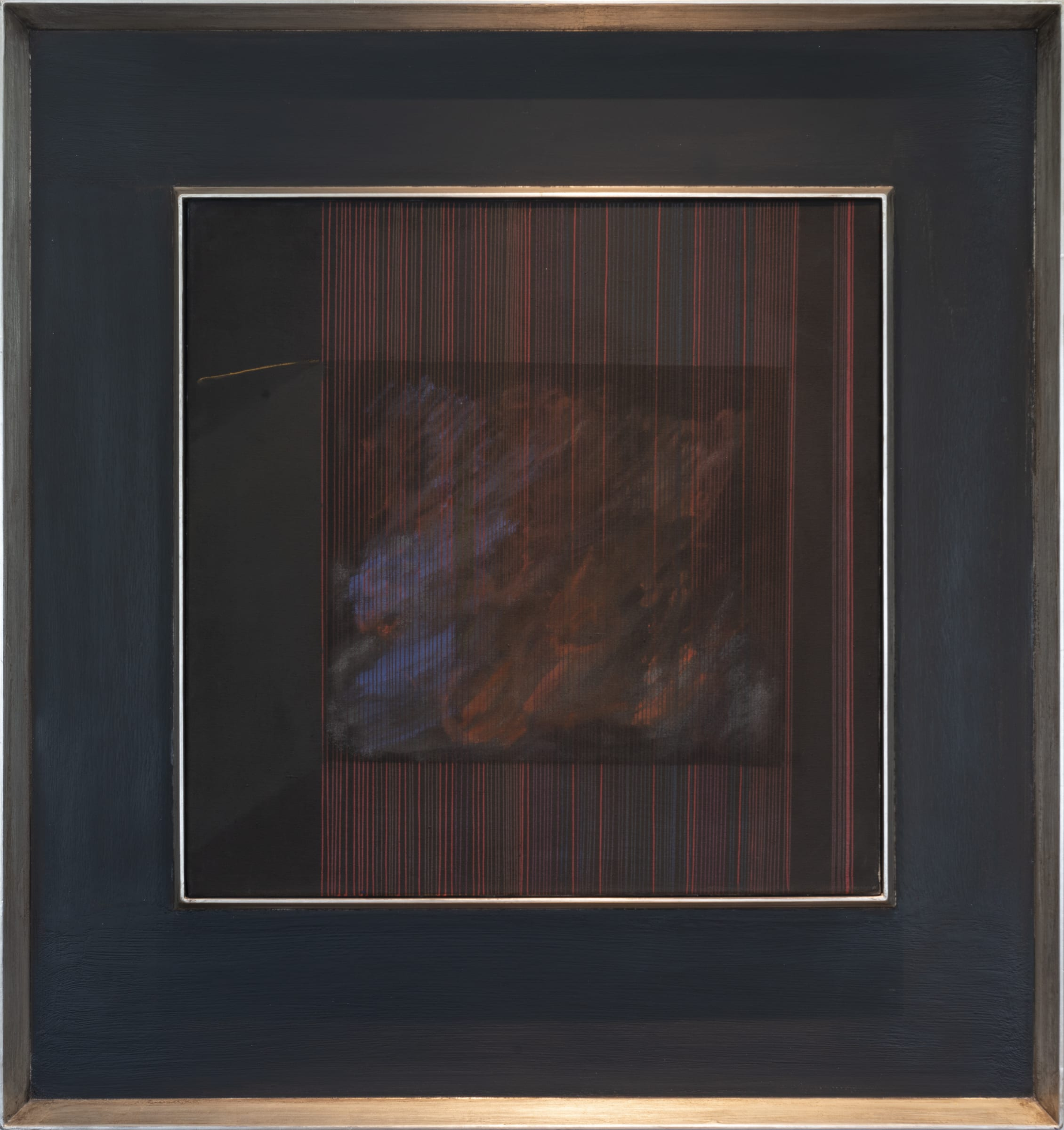 """<span class=""""link fancybox-details-link""""><a href=""""/exhibitions/114/works/artworks8395/"""">View Detail Page</a></span><div class=""""signed_and_dated"""">Signed and titled on reverse Requiem Hotere Port Chalmers 74</div> <div class=""""medium"""">Oil, cellulose lacquer and gold paint on cotton canvas</div> <div class=""""dimensions"""">815mm x 815mm</div>"""