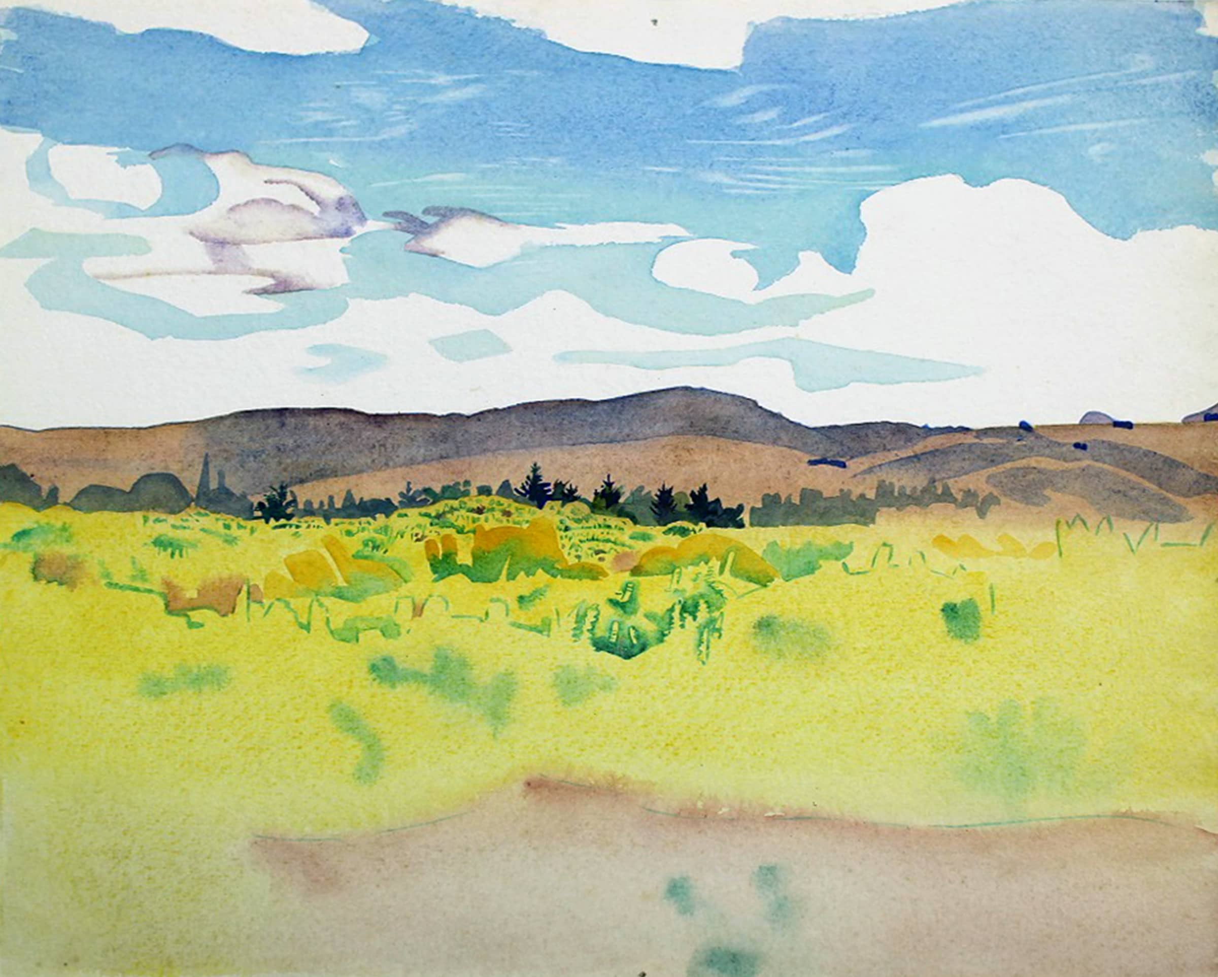 """<span class=""""link fancybox-details-link""""><a href=""""/artists/70-rita-angus/works/6383-rita-angus-landscape-northland-1953-54/"""">View Detail Page</a></span><div class=""""artist""""><strong>Rita Angus</strong></div> <div class=""""title""""><em>Landscape (Northland)</em>, 1953-54</div> <div class=""""medium"""">Watercolour on paper</div> <div class=""""dimensions"""">10.4 x 11.4 in<br />26.3 x 29 cm</div>"""