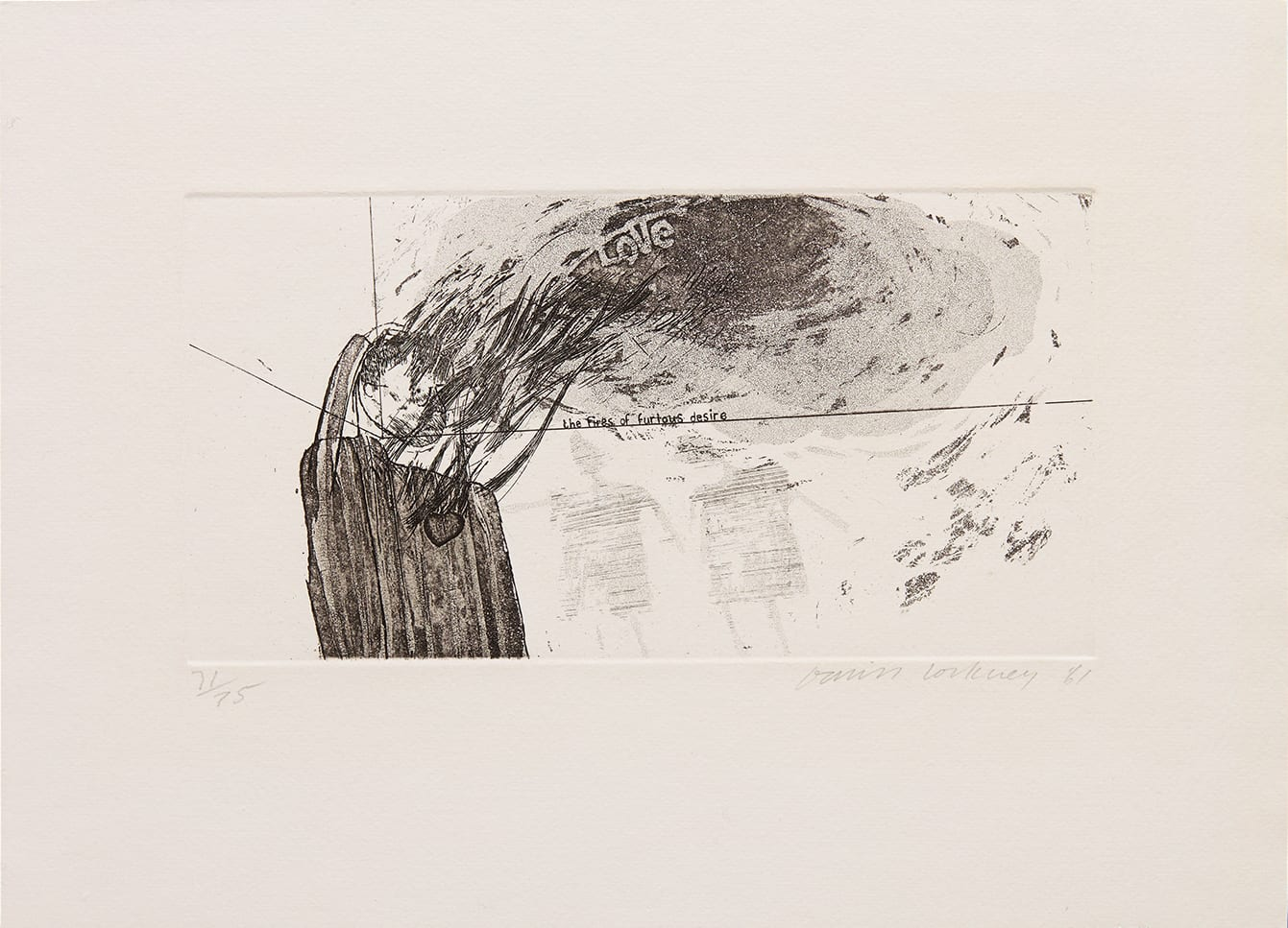 """<span class=""""link fancybox-details-link""""><a href=""""/content/viewing-room/25/artworks7516/"""">View Detail Page</a></span><div class=""""signed_and_dated"""">signed 'David Hockney' in pencil lower right, dated ''61', and numbered from the edition of 75, lower left</div> <div class=""""medium"""">etching and aquatint on handmade Crisbrook laid paper</div> <div class=""""dimensions"""">plate size: 14.4 x 27.4 cm<br /> sheet size: 29 x 39.5 cm</div> <div class=""""edition_details"""">edition 71 of 75 aside from 16 Artist's Proofs</div>"""