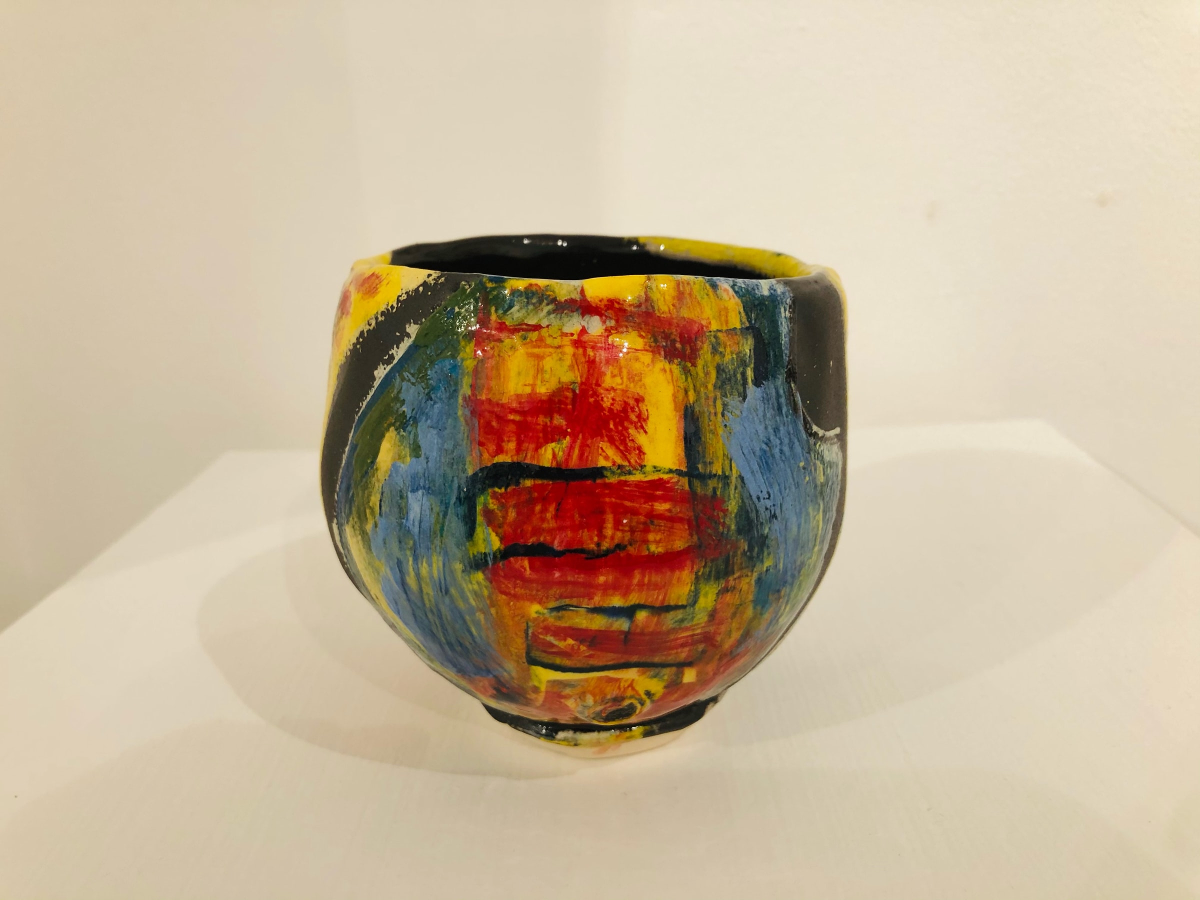 """<span class=""""link fancybox-details-link""""><a href=""""/artists/100-john-pollex/works/7420-john-pollex-tea-bowl-hand-built-2020/"""">View Detail Page</a></span><div class=""""artist""""><strong>John Pollex</strong></div> <div class=""""title""""><em>Tea bowl (hand built)</em>, 2020</div> <div class=""""signed_and_dated"""">impressed with the artist's seal mark 'JP'</div> <div class=""""medium"""">white earthenware decorated with coloured slips</div> <div class=""""dimensions"""">height. 9 cm x diameter. 10 cm</div><div class=""""copyright_line"""">Copyright The Artist</div>"""