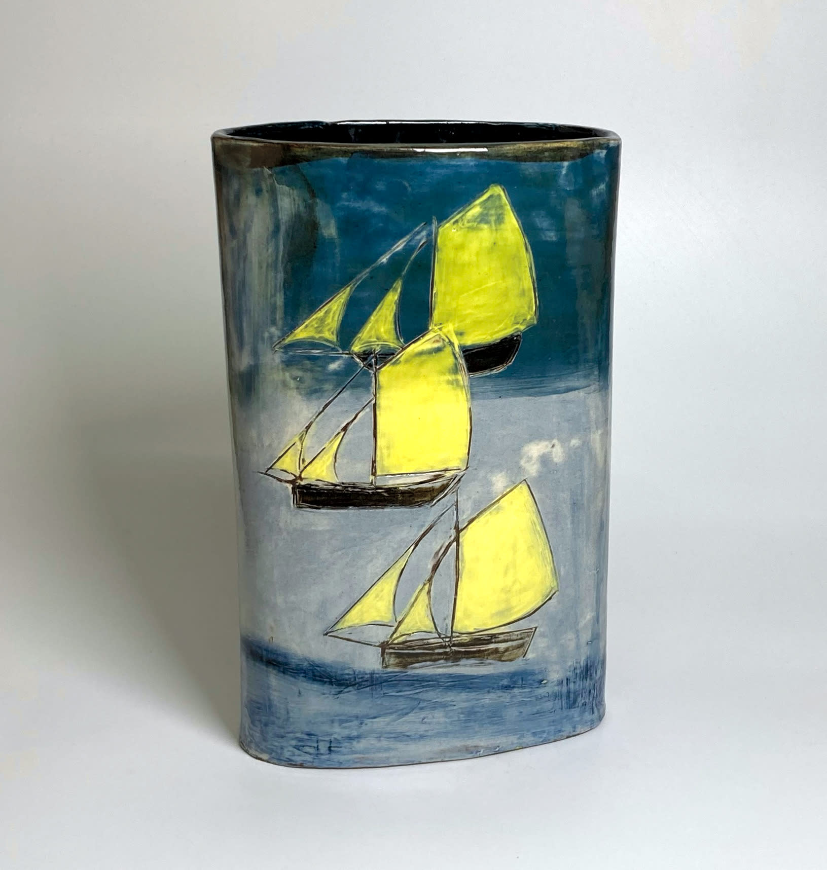 "<span class=""link fancybox-details-link""><a href=""/artists/428-anne-barrell/works/7699-anne-barrell-four-ships-2021/"">View Detail Page</a></span><div class=""artist""><strong>Anne Barrell</strong></div> <div class=""title""><em>Four Ships</em>, 2021</div> <div class=""medium"">handmade, hand-painted ceramic </div> <div class=""dimensions"">h. 25 x w. 16 x d. 9 cm </div><div class=""copyright_line"">Own Art: £26 x 10 Months, 0% APR</div>"