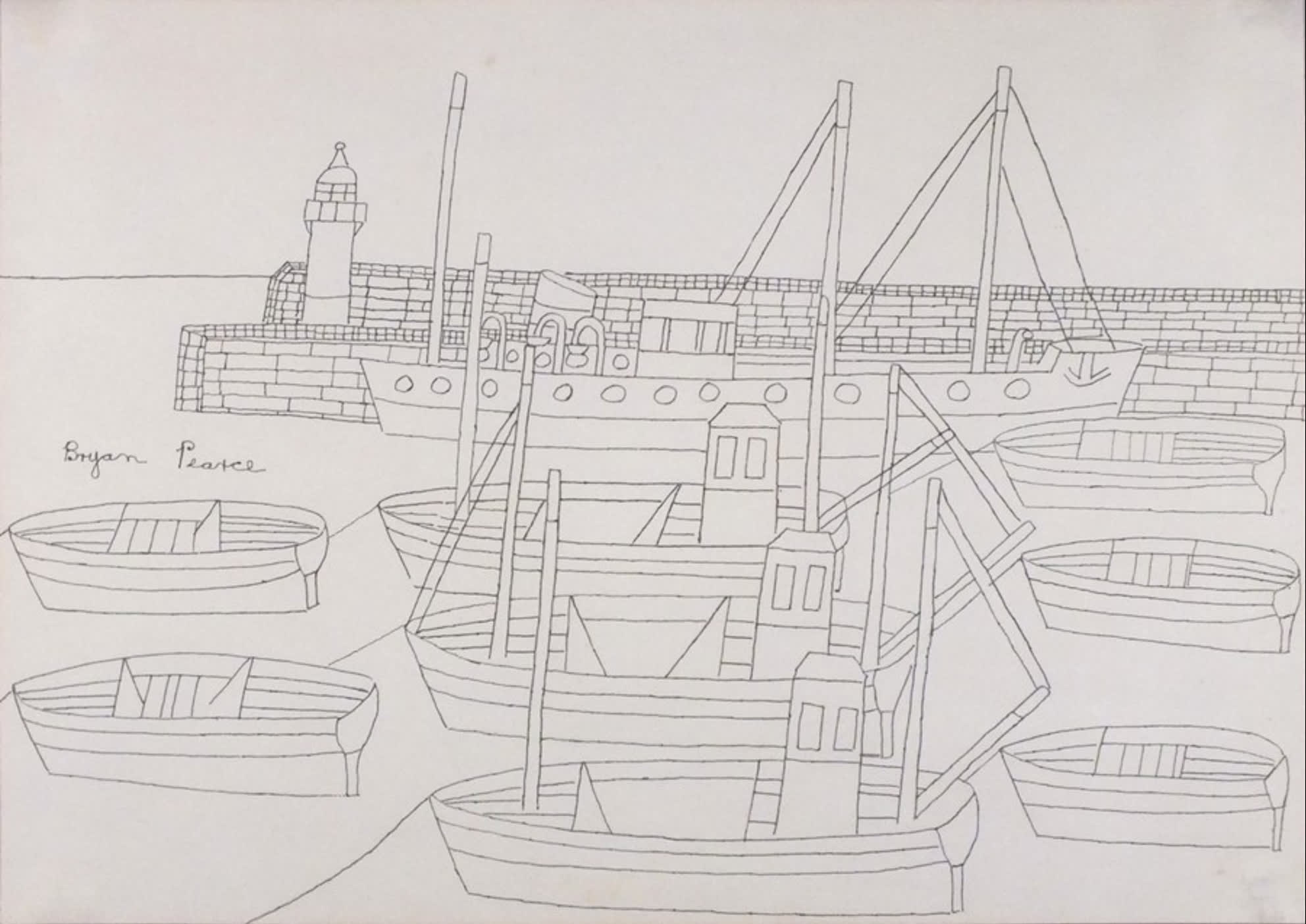 """<span class=""""link fancybox-details-link""""><a href=""""/artists/85-bryan-pearce/works/8055-bryan-pearce-the-stone-boat-newlyn-1972/"""">View Detail Page</a></span><div class=""""artist""""><strong>Bryan Pearce</strong></div> 1929-2007 <div class=""""title""""><em>The Stone Boat, Newlyn</em>, 1972</div> <div class=""""signed_and_dated"""">signed by the artist mid-left,<br /> signed and tilted on reverse</div> <div class=""""medium"""">pen and ink on paper</div> <div class=""""dimensions"""">image size: h 29 cm x w 42 cm<br /> framed size: h 50 x w 61 cm</div><div class=""""copyright_line"""">Copyright The Artist</div>"""