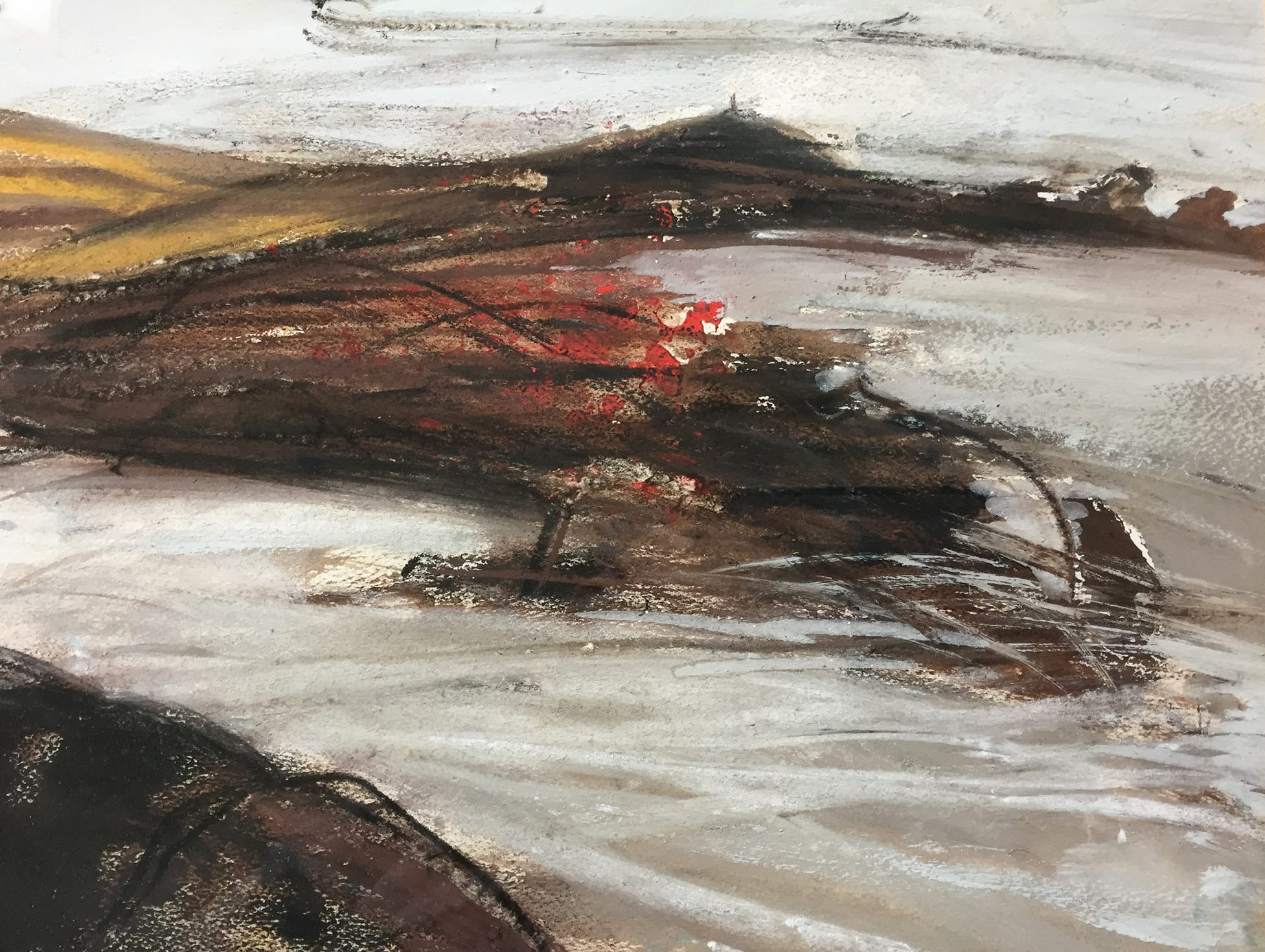 """<span class=""""link fancybox-details-link""""><a href=""""/artists/134-margo-maeckelberghe/works/7544-margo-maeckelberghe-cape-in-white-penwith-2000/"""">View Detail Page</a></span><div class=""""artist""""><strong>Margo Maeckelberghe</strong></div> 1932–2014 <div class=""""title""""><em>Cape in White, Penwith</em>, 2000</div> <div class=""""signed_and_dated"""">signed, titled, and dated verso</div> <div class=""""medium"""">mixed media on handmade paper</div> <div class=""""dimensions"""">visible image size: 24.4 x 34.4 cm <br /> frame size: 44 x 54 cm</div><div class=""""copyright_line"""">© The Estate of Margo Maeckelberghe</div>"""