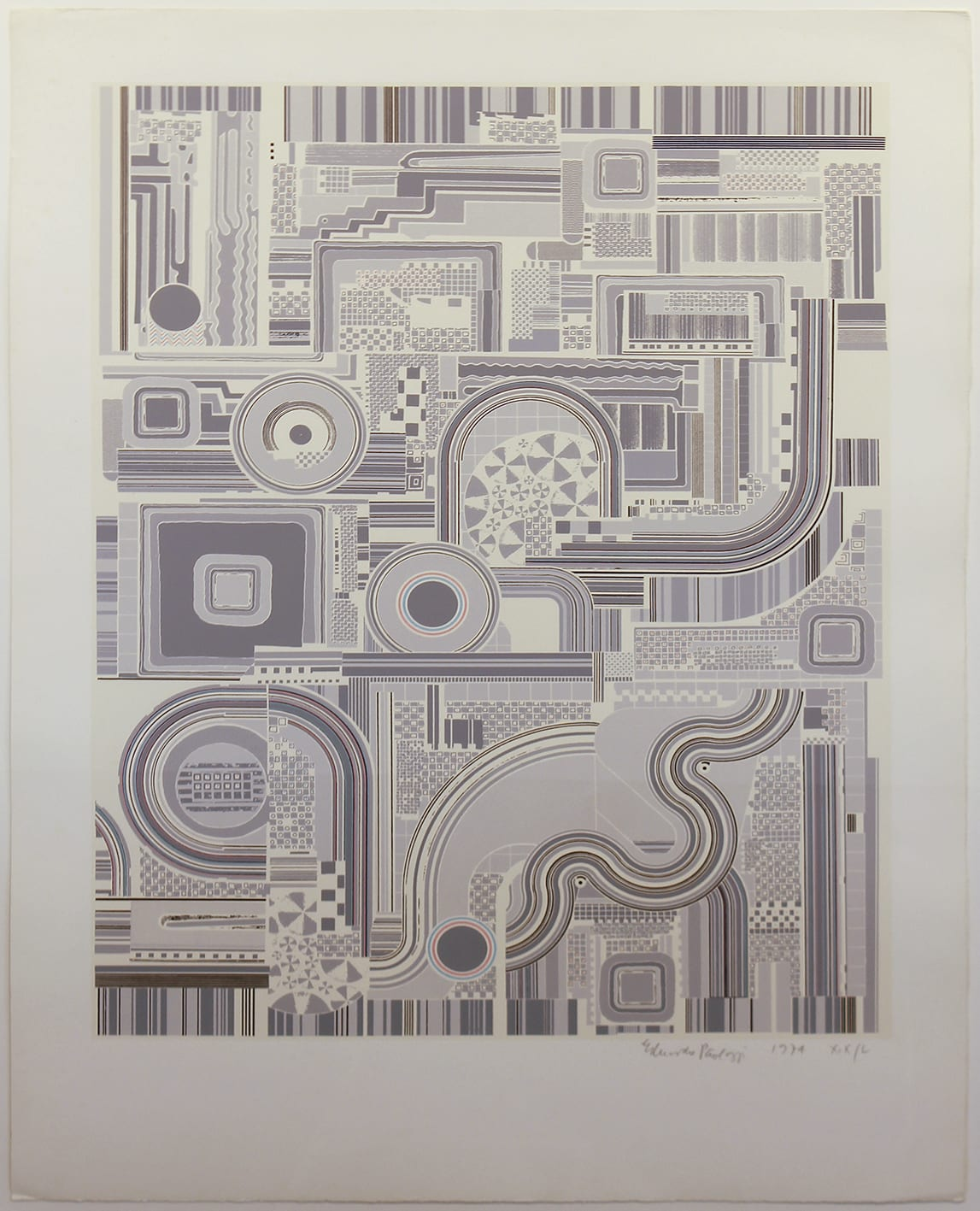 """<span class=""""link fancybox-details-link""""><a href=""""/artists/180-eduardo-paolozzi-cbe-ra/works/4880-eduardo-paolozzi-cbe-ra-untitled-grey-1974/"""">View Detail Page</a></span><div class=""""artist""""><strong>Eduardo Paolozzi CBE RA</strong></div> 1925-2005 <div class=""""title""""><em>Untitled Grey</em>, 1974</div> <div class=""""signed_and_dated"""">signed, dated and editioned in pencil</div> <div class=""""medium"""">screenprint printed in colours, on Firenze wove, signed, dated and numbered in pencil</div> <div class=""""dimensions"""">image size: 64 x 49 cm</div> <div class=""""edition_details"""">Proof number XIX / L aside from the edition of 100</div><div class=""""copyright_line"""">© The Estate of Eduardo Paolozzi</div>"""