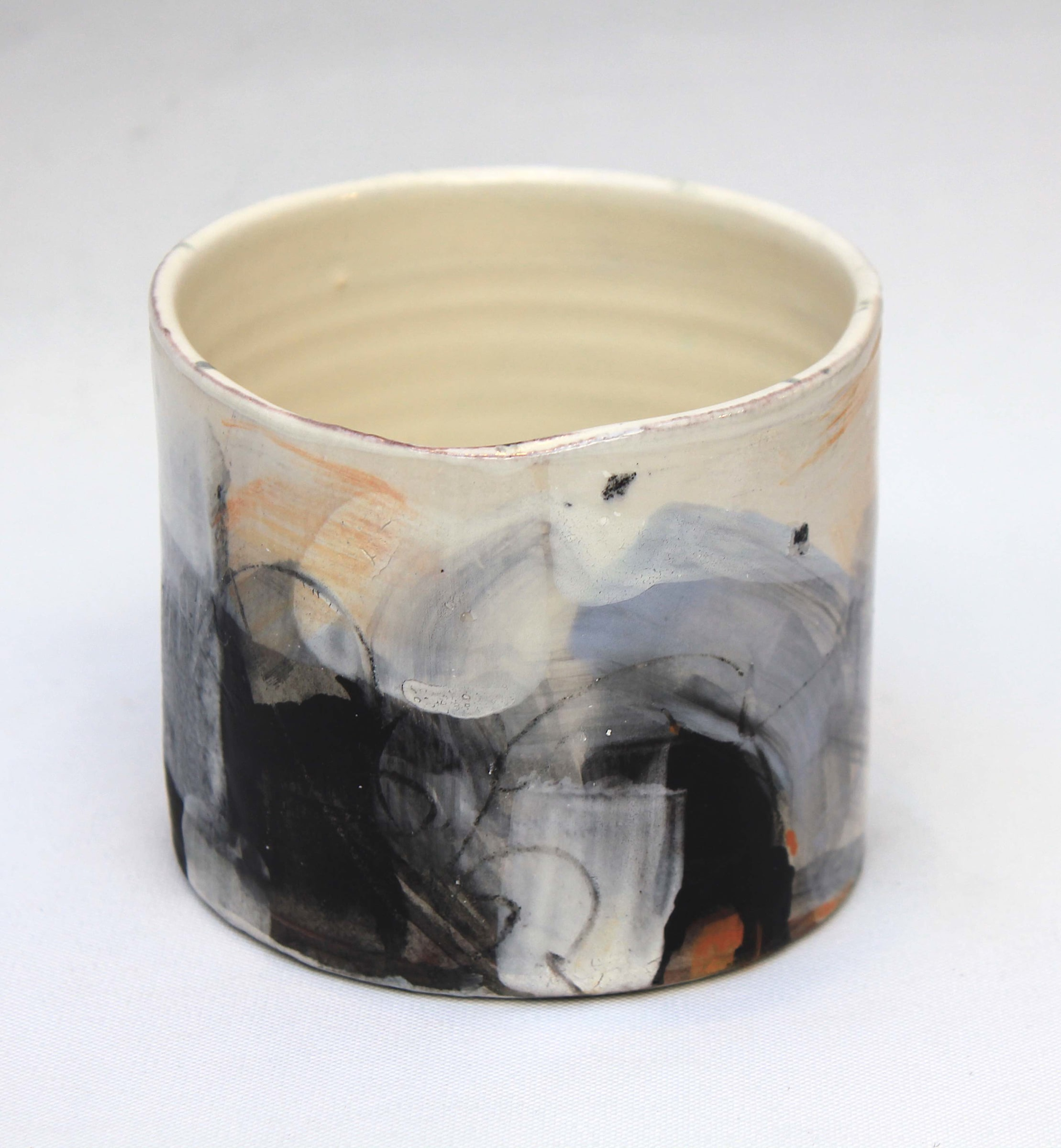 """<span class=""""link fancybox-details-link""""><a href=""""/artists/34-barry-stedman/works/4154-barry-stedman-thrown-vessel-dark-shore-series-2017/"""">View Detail Page</a></span><div class=""""artist""""><strong>Barry Stedman</strong></div> b. 1965 <div class=""""title""""><em>Thrown VEssel 'Dark Shore' Series</em>, 2017</div> <div class=""""signed_and_dated"""">signed by artist</div> <div class=""""medium"""">thrown and altered earthenware, decorated with slips</div> <div class=""""dimensions"""">8 x 9 cm<br /> 3 1/8 x 3 1/2 inches</div><div class=""""copyright_line"""">OwnArt: £ 14.50 x 10 Months, 0% APR</div>"""