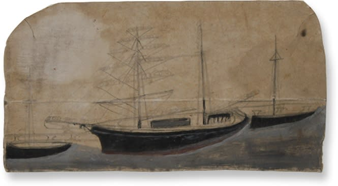 """<span class=""""link fancybox-details-link""""><a href=""""/artists/94-alfred-wallis/works/882-alfred-wallis-three-sailing-boats-in-harbour/"""">View Detail Page</a></span><div class=""""artist""""><strong>Alfred Wallis</strong></div> 1855-1942 <div class=""""title""""><em>Three Sailing Boats in Harbour</em></div> <div class=""""medium"""">oil and graphite pencil on card</div> <div class=""""dimensions"""">h. 12 x w. 12 cm</div>"""