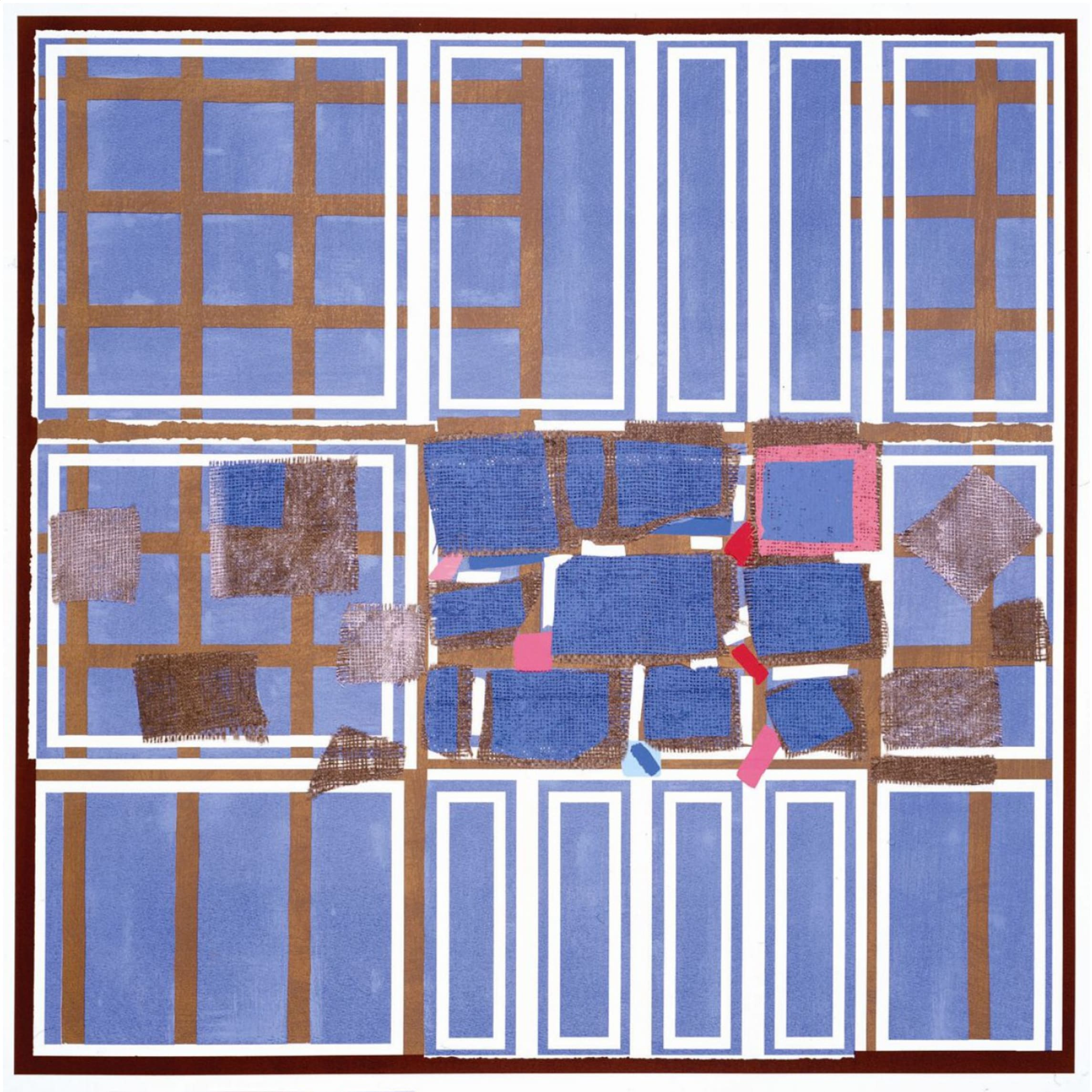 """<span class=""""link fancybox-details-link""""><a href=""""/artists/70-sandra-blow-ra/works/7031-sandra-blow-ra-blue-brown-interweave-2005/"""">View Detail Page</a></span><div class=""""artist""""><strong>Sandra Blow RA</strong></div> 1925–2006 <div class=""""title""""><em>Blue Brown Interweave</em>, 2005</div> <div class=""""signed_and_dated"""">signed, numbered and titled by the artist in pencil</div> <div class=""""medium"""">silkscreen print on paper with collaged hessian and paper elements</div> <div class=""""dimensions"""">image size: 71 x 71 cm<br /> sheet size: 94 x 91.5 cm</div> <div class=""""edition_details"""">edition of 125</div><div class=""""copyright_line"""">© The Estate of Sandra Blow</div>"""