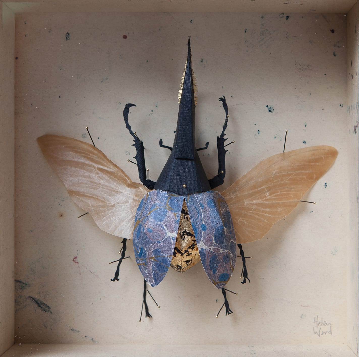 "<span class=""link fancybox-details-link""><a href=""/artists/142-helen-ward/works/6229-helen-ward-blue-hercules-beetle-2019/"">View Detail Page</a></span><div class=""artist""><strong>Helen Ward</strong></div> <div class=""title""><em>Blue Hercules Beetle</em>, 2019</div> <div class=""medium"">paper, Victorian hand-marbled papers, gold leaf, enamel pins</div> <div class=""dimensions"">20 x 20 cm</div><div class=""price"">£380.00</div><div class=""copyright_line"">Own Art: £ 38 x 10 Monthly 0% APR Representative Payments</div>"