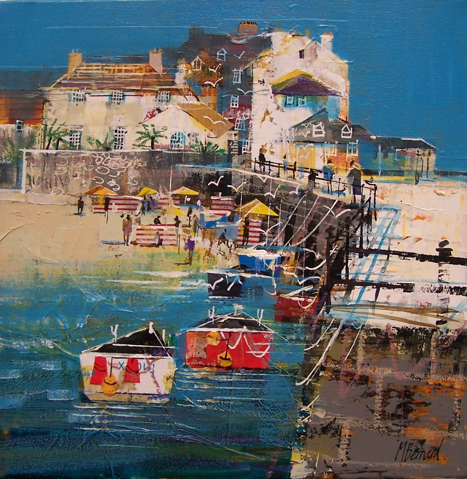 "<span class=""link fancybox-details-link""><a href=""/artists/155-mike-bernard-ri/works/5789-mike-bernard-ri-harbour-wall-st-ives-2018/"">View Detail Page</a></span><div class=""artist""><strong>Mike Bernard RI</strong></div> b. 1957 <div class=""title""><em>Harbour Wall, St Ives</em>, 2018</div> <div class=""signed_and_dated"">signed by the artist</div> <div class=""medium"">Mixed media on canvas</div> <div class=""dimensions"">30.5 x 30.5 cm<br /> 12 x 12 inches</div><div class=""copyright_line"">OwnArt: £ 95 x 10 Months, 0% APR</div>"