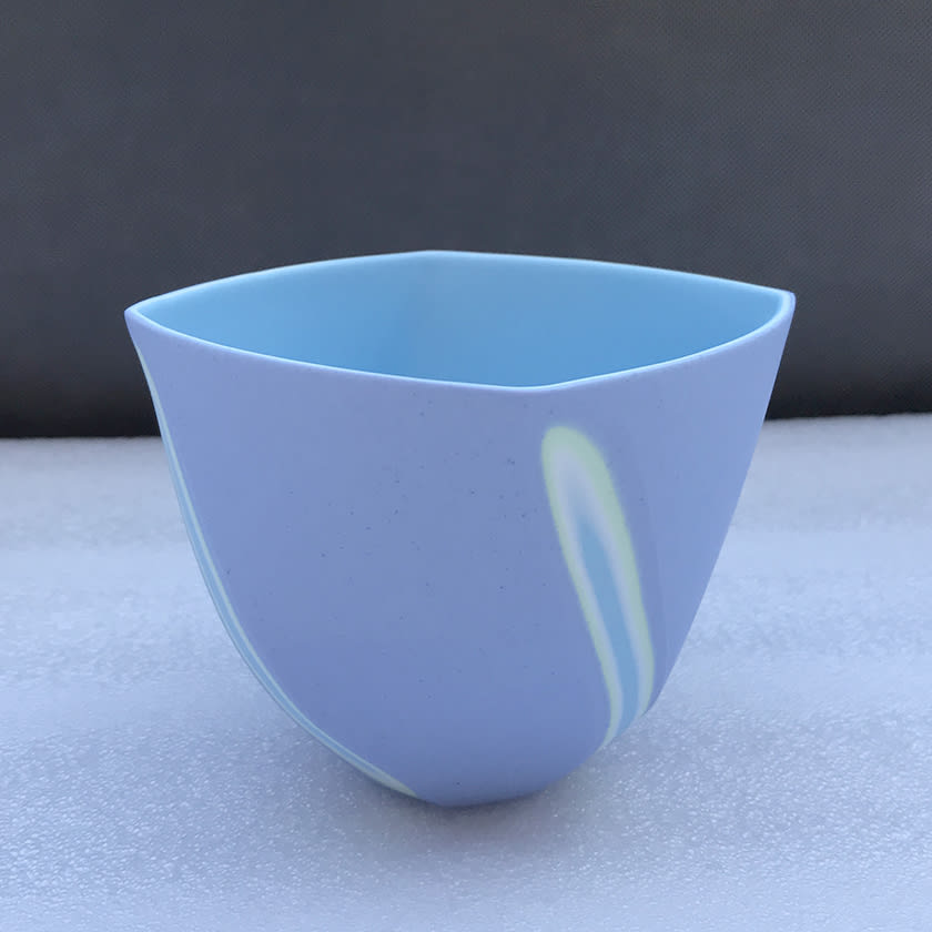 """<span class=""""link fancybox-details-link""""><a href=""""/artists/60-sasha-wardell/works/7504-sasha-wardell-medium-twist-bowl-2021/"""">View Detail Page</a></span><div class=""""artist""""><strong>Sasha Wardell</strong></div> b. 1956 <div class=""""title""""><em>Medium 'Twist' Bowl</em>, 2021</div> <div class=""""signed_and_dated"""">inscribed with the artist's initials to the base</div> <div class=""""medium"""">lavender/green/white/blue layered and sliced bone china</div> <div class=""""dimensions"""">h. 9 cm x w. (widest point) 12 cm</div><div class=""""price"""">£175.00</div><div class=""""copyright_line"""">Own Art: £17.50 x 10 months, 0% APR</div>"""