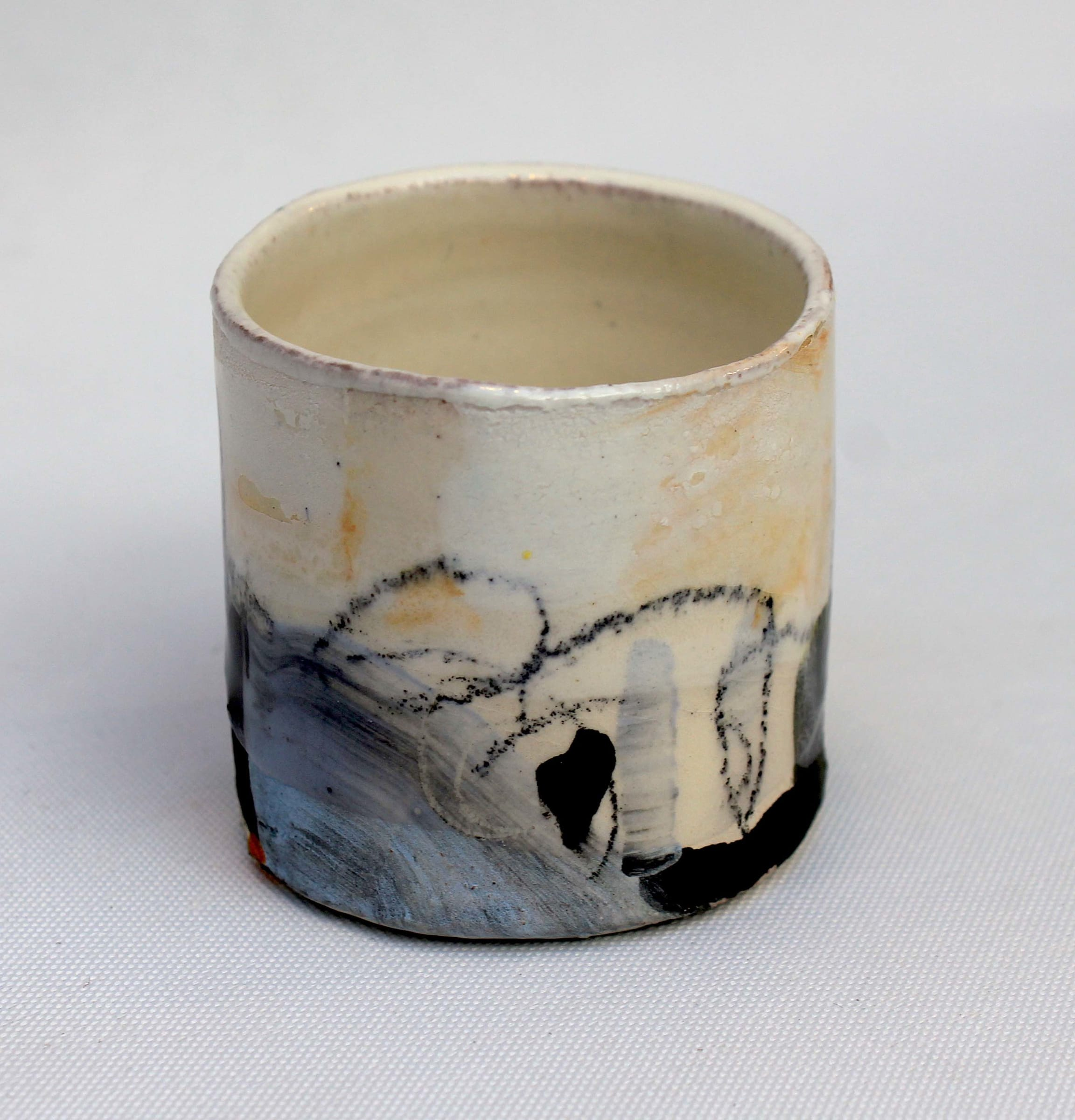 """<span class=""""link fancybox-details-link""""><a href=""""/artists/34-barry-stedman/works/4153-barry-stedman-thrown-vessel-dark-shore-series-2017/"""">View Detail Page</a></span><div class=""""artist""""><strong>Barry Stedman</strong></div> b. 1965 <div class=""""title""""><em>Thrown Vessel 'Dark Shore' Series</em>, 2017</div> <div class=""""signed_and_dated"""">signed by artist</div> <div class=""""medium"""">thrown and altered earthenware, decorated with slips</div> <div class=""""dimensions"""">5 x 5.5 cm<br /> 2 x 2 1/8 inches</div>"""