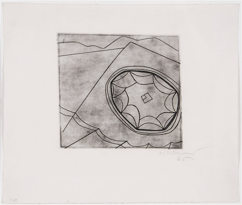 """<span class=""""link fancybox-details-link""""><a href=""""/artists/112-ben-nicholson-om/works/2521-ben-nicholson-om-olympic-fragment-c.118-1965/"""">View Detail Page</a></span><div class=""""artist""""><strong>Ben Nicholson OM</strong></div> 1894–1982 <div class=""""title""""><em>Olympic Fragment (C.118)</em>, 1965</div> <div class=""""signed_and_dated"""">Signed, dated and numbered 48/50 in pencil to the margin</div> <div class=""""medium"""">Etching on wove paper, with full margins</div> <div class=""""dimensions"""">plate size: 18.5 x 19.7 cm<br /> sheet size: 30.5 x 36 cm</div> <div class=""""edition_details"""">48/50</div><div class=""""copyright_line"""">Copyright The Artist</div>"""