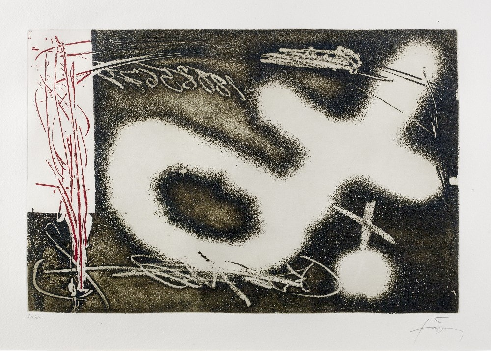 """<span class=""""link fancybox-details-link""""><a href=""""/artists/153-antoni-tapies/works/3400-antoni-tapies-untitled-from-el-pendulo-inmovil-1982/"""">View Detail Page</a></span><div class=""""artist""""><strong>Antoni Tapies</strong></div> 1923–2012 <div class=""""title""""><em>Untitled from El Pendulo Inmovil</em>, 1982</div> <div class=""""signed_and_dated"""">signed and editioned 'V/XXX' in pencil (to the margin)</div> <div class=""""medium"""">etching and aquatint with resins printed in colours on Auvergne Richard de Bas Paper</div> <div class=""""dimensions"""">plate size: 30 x 40 cm<br /> sheet size: 51 x 66 cm</div> <div class=""""edition_details"""">edition of 75</div><div class=""""copyright_line"""">@ The Estate of Antoni Tapies</div>"""
