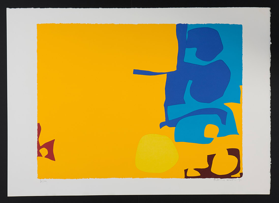 """<span class=""""link fancybox-details-link""""><a href=""""/artists/93-patrick-heron-cbe/works/7506-patrick-heron-cbe-blues-dovetailed-in-yellow-april-1970-1970/"""">View Detail Page</a></span><div class=""""artist""""><strong>Patrick Heron CBE</strong></div> 1920 – 1999 <div class=""""title""""><em>Blues Dovetailed in Yellow: April 1970</em>, 1970</div> <div class=""""signed_and_dated"""">signed in pencil lower right, dated and numbered from the edition of 100 lower left</div> <div class=""""medium"""">silkscreen printed in colours on wove paper, with full margins</div> <div class=""""dimensions"""">image size: 59.5 x 78 cm <br /> sheet size: 71.8 x 101.6 cm </div> <div class=""""edition_details"""">edition of 100</div><div class=""""copyright_line"""">© The Estate of Patrick Heron</div>"""