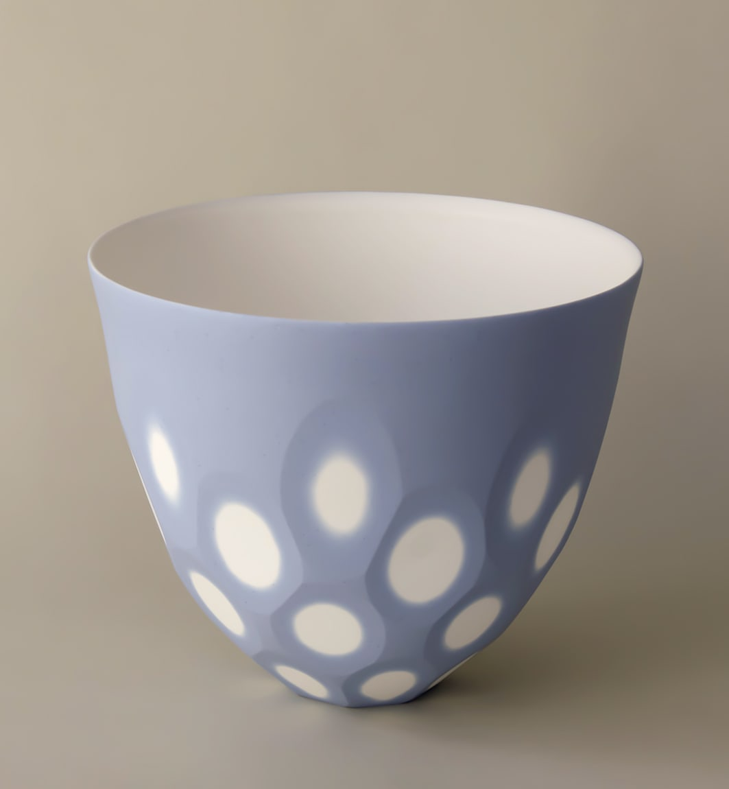 """<span class=""""link fancybox-details-link""""><a href=""""/artists/60-sasha-wardell/works/7314-sasha-wardell-medium-space-bowl-lilac-2020/"""">View Detail Page</a></span><div class=""""artist""""><strong>Sasha Wardell</strong></div> b. 1956 <div class=""""title""""><em>Medium Space Bowl Lilac</em>, 2020</div> <div class=""""medium"""">porcelain</div> <div class=""""dimensions"""">h. 14 x dia. 18 cm </div><div class=""""price"""">£200.00</div><div class=""""copyright_line"""">Ownart: £20 x 10 Months, 0% APR</div>"""