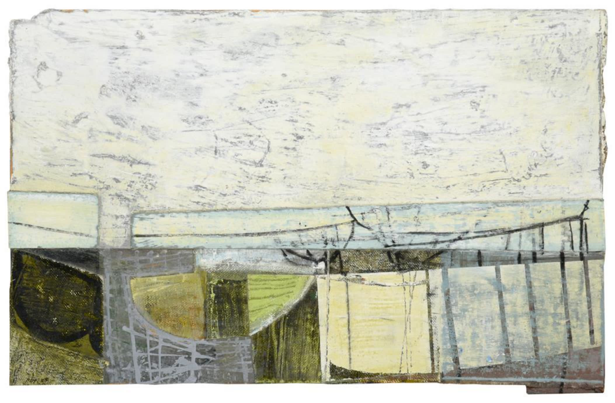 """<span class=""""link fancybox-details-link""""><a href=""""/artists/429-peter-joyce/works/7550-peter-joyce-sea-defence-and-slipway-2007/"""">View Detail Page</a></span><div class=""""artist""""><strong>Peter Joyce</strong></div> b. 1964 <div class=""""title""""><em>Sea Defence and Slipway</em>, 2007</div> <div class=""""signed_and_dated"""">initialled and dated (20)07, inscribed verso</div> <div class=""""medium"""">acrylic and collage on board, </div> <div class=""""dimensions"""">h 27.5 x w 42.5 cm</div><div class=""""copyright_line"""">Copyright The Artist</div>"""