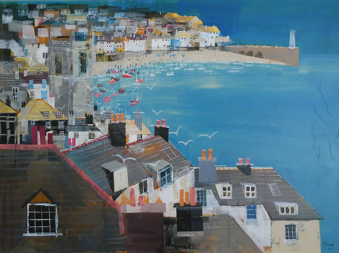 "<span class=""link fancybox-details-link""><a href=""/artists/155-mike-bernard-ri/works/7455-mike-bernard-ri-st-ives-bay/"">View Detail Page</a></span><div class=""artist""><strong>Mike Bernard RI</strong></div> b. 1957 <div class=""title""><em>St Ives Bay</em></div> <div class=""signed_and_dated"">signed by the artist</div> <div class=""medium"">mixed media on canvas</div> <div class=""dimensions"">h 75.2 x w 101.6 cm</div><div class=""price"">£4,900.00</div><div class=""copyright_line"">Own Art: £ 250 x 10 monthly payments, 0% APR + £2,400 deposit</div>"