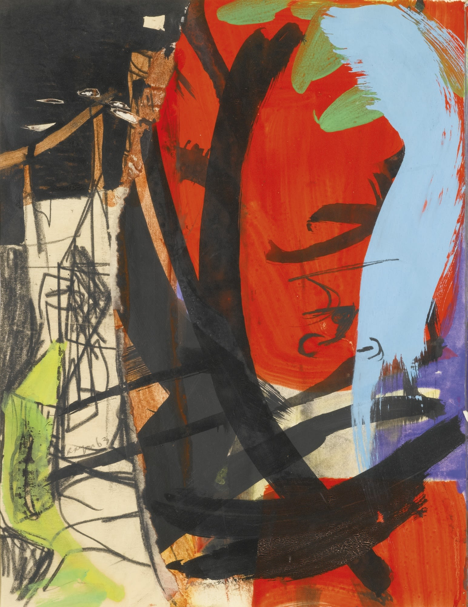"<span class=""link fancybox-details-link""><a href=""/artists/46-peter-lanyon/works/1554-peter-lanyon-red-leaf-and-tower-1963/"">View Detail Page</a></span><div class=""artist""><strong>Peter Lanyon</strong></div> 1918–1964 <div class=""title""><em>Red Leaf and Tower</em>, 1963</div> <div class=""signed_and_dated"">signed and dated '63'</div> <div class=""medium"">oil, gouache, charcoal and collage on paper</div> <div class=""dimensions"">35 x 27 cm</div><div class=""copyright_line"">@ The Estate of Peter Lanyon</div>"