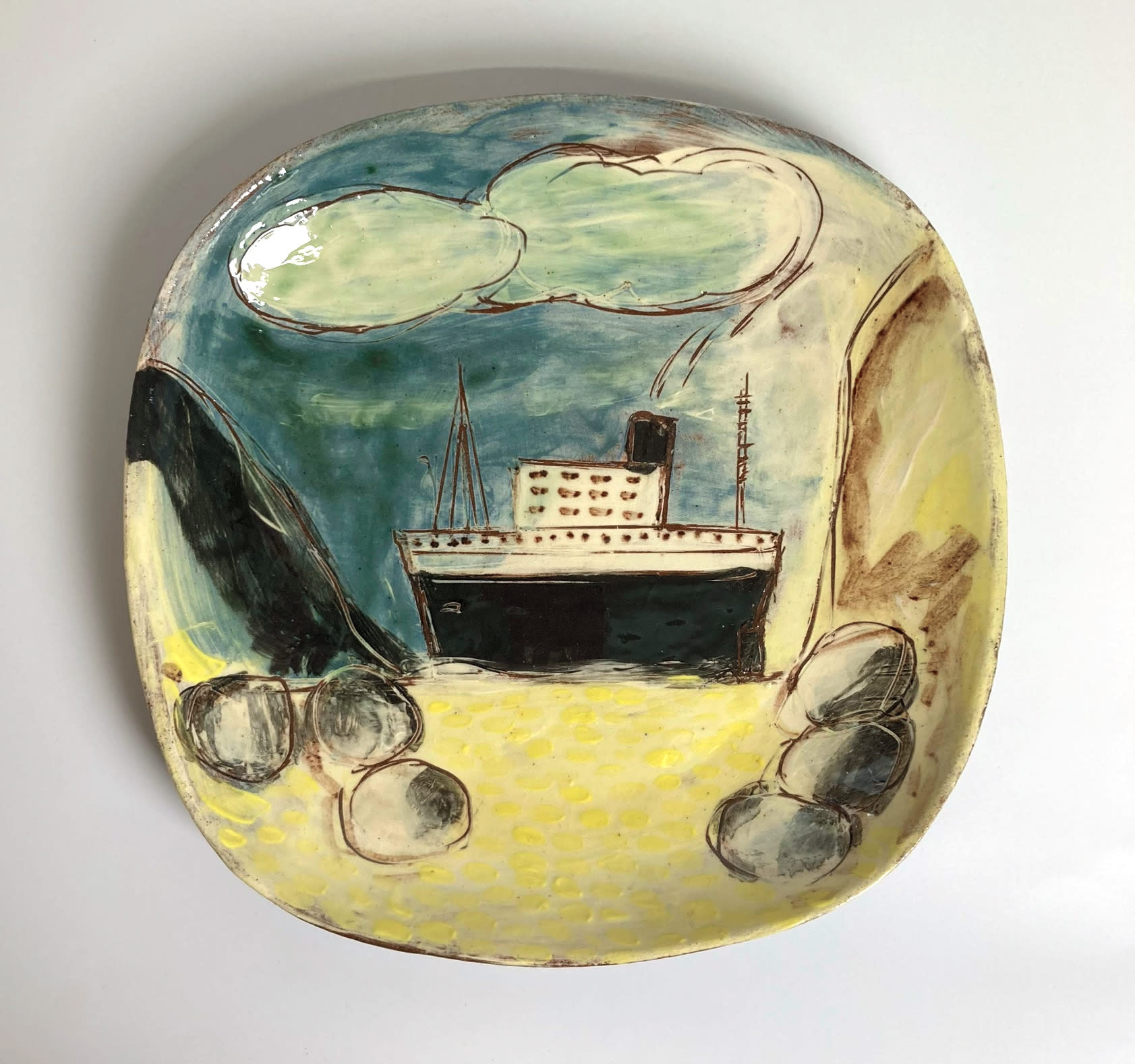 """<span class=""""link fancybox-details-link""""><a href=""""/artists/428-anne-barrell/works/7690-anne-barrell-the-big-ship-glimpsed-from-the-beach-2021/"""">View Detail Page</a></span><div class=""""artist""""><strong>Anne Barrell</strong></div> <div class=""""title""""><em>The Big Ship Glimpsed from the Beach </em>, 2021</div> <div class=""""medium"""">handmade, hand-painted ceramic </div> <div class=""""dimensions"""">h. 23 x w. 23 cm </div><div class=""""price"""">£100.00</div><div class=""""copyright_line"""">Own Art: £10 x 10 Months, 0% APR</div>"""