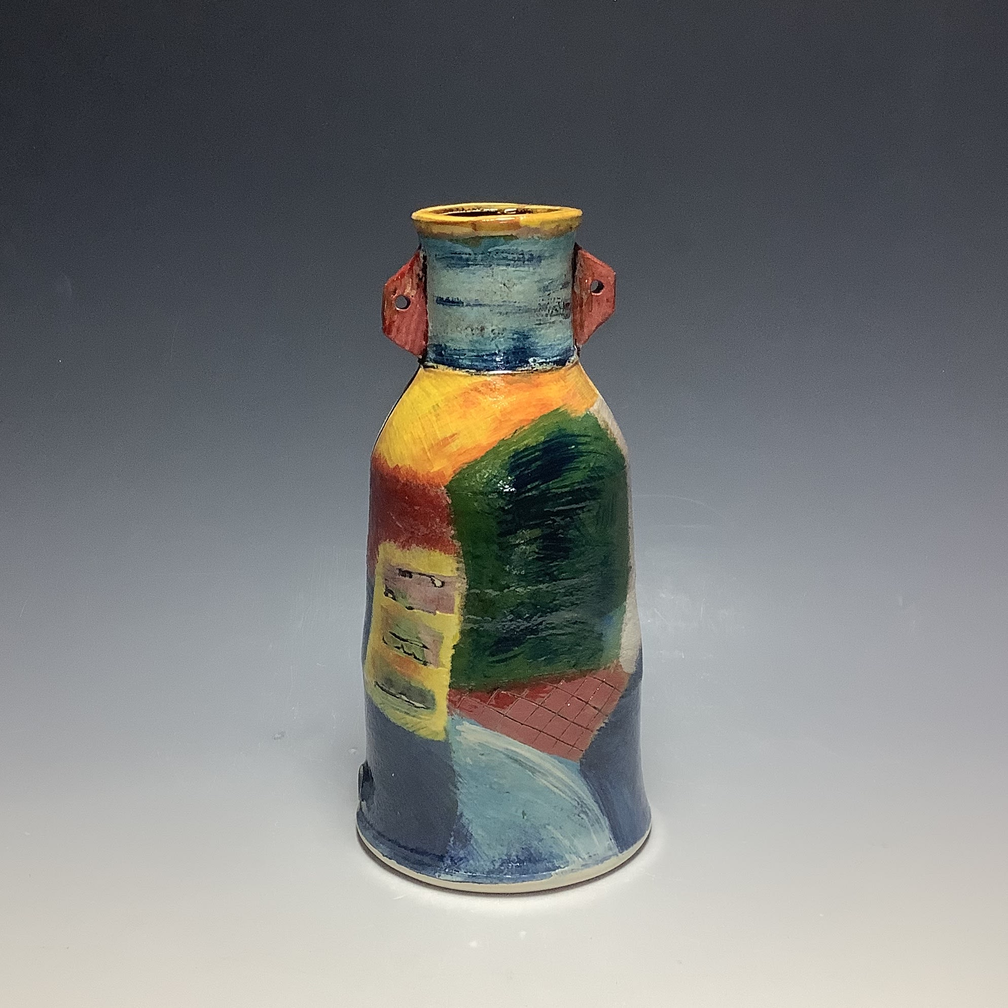 """<span class=""""link fancybox-details-link""""><a href=""""/artists/100-john-pollex/works/6832-john-pollex-bottle-with-neck-attachment-2020/"""">View Detail Page</a></span><div class=""""artist""""><strong>John Pollex</strong></div> b. 1941 <div class=""""title""""><em>Bottle with neck attachment</em>, 2020</div> <div class=""""signed_and_dated"""">impressed with the artist's seal mark 'JP'</div> <div class=""""medium"""">white earthenware decorated with coloured slips</div> <div class=""""dimensions"""">h. 8.5in</div><div class=""""copyright_line"""">Ownart: £22 x 10 Months, 0% APR</div>"""