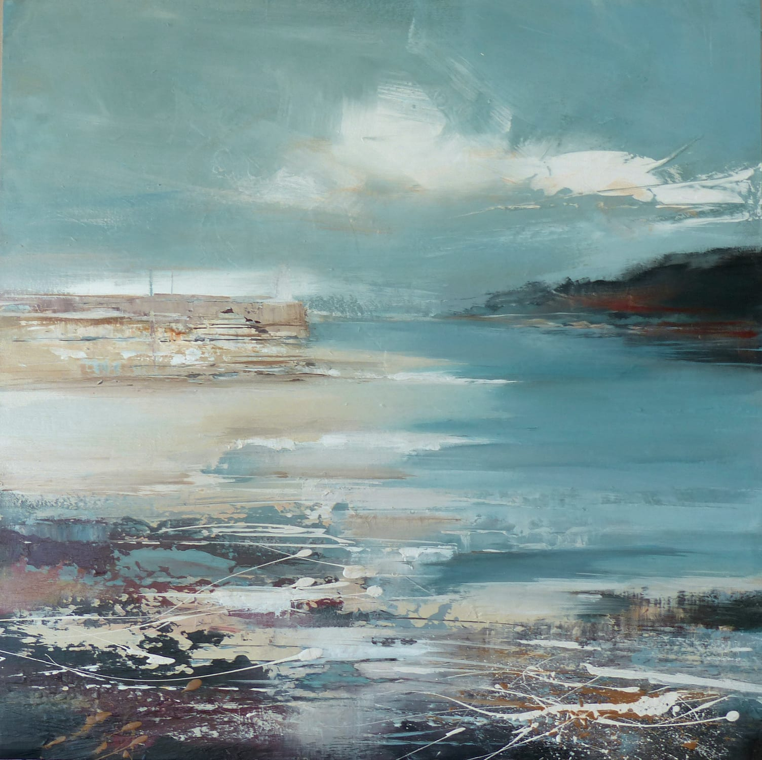 """<span class=""""link fancybox-details-link""""><a href=""""/store/artworks/7945-jenny-hirst-tide-ebbing-2021/"""">View Detail Page</a></span><div class=""""artist""""><strong>Jenny Hirst</strong></div> <div class=""""title""""><em>Tide Ebbing</em>, 2021</div> <div class=""""medium"""">acrylic on panel with white tray frame</div> <div class=""""dimensions"""">h. 50 cm x w. 50 cm <br /> Framed size: h. 55 cm x w. 55 cm </div><div class=""""price"""">£850.00</div><div class=""""copyright_line"""">Own Art: £85 x 10 months, 0% APR</div>"""