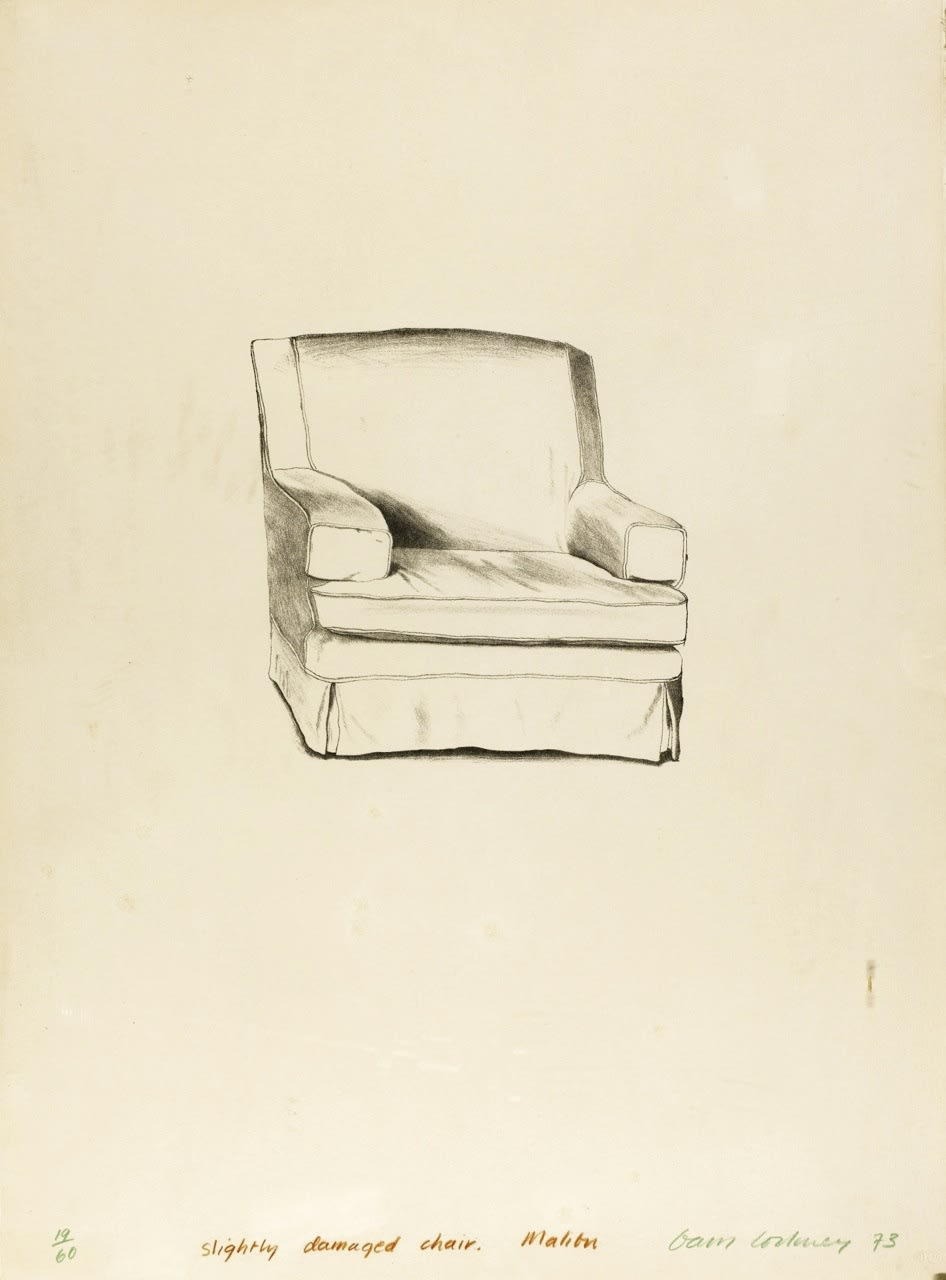 """<span class=""""link fancybox-details-link""""><a href=""""/artists/51-david-hockney-om-ch-ra/works/2331-david-hockney-om-ch-ra-slightly-damaged-chair-malibu-1973/"""">View Detail Page</a></span><div class=""""artist""""><strong>David Hockney OM CH RA</strong></div> 1937– <div class=""""title""""><em>Slightly Damaged Chair, Malibu</em>, 1973</div> <div class=""""signed_and_dated"""">signed, dated and numbered in coloured pencils</div> <div class=""""medium"""">lithograph printed in colours on Arches wove paper</div> <div class=""""dimensions"""">sheet size: 76 x 56.5 cm<br />29 7/8 x 22 1/4 inches</div> <div class=""""edition_details"""">19/60</div>"""